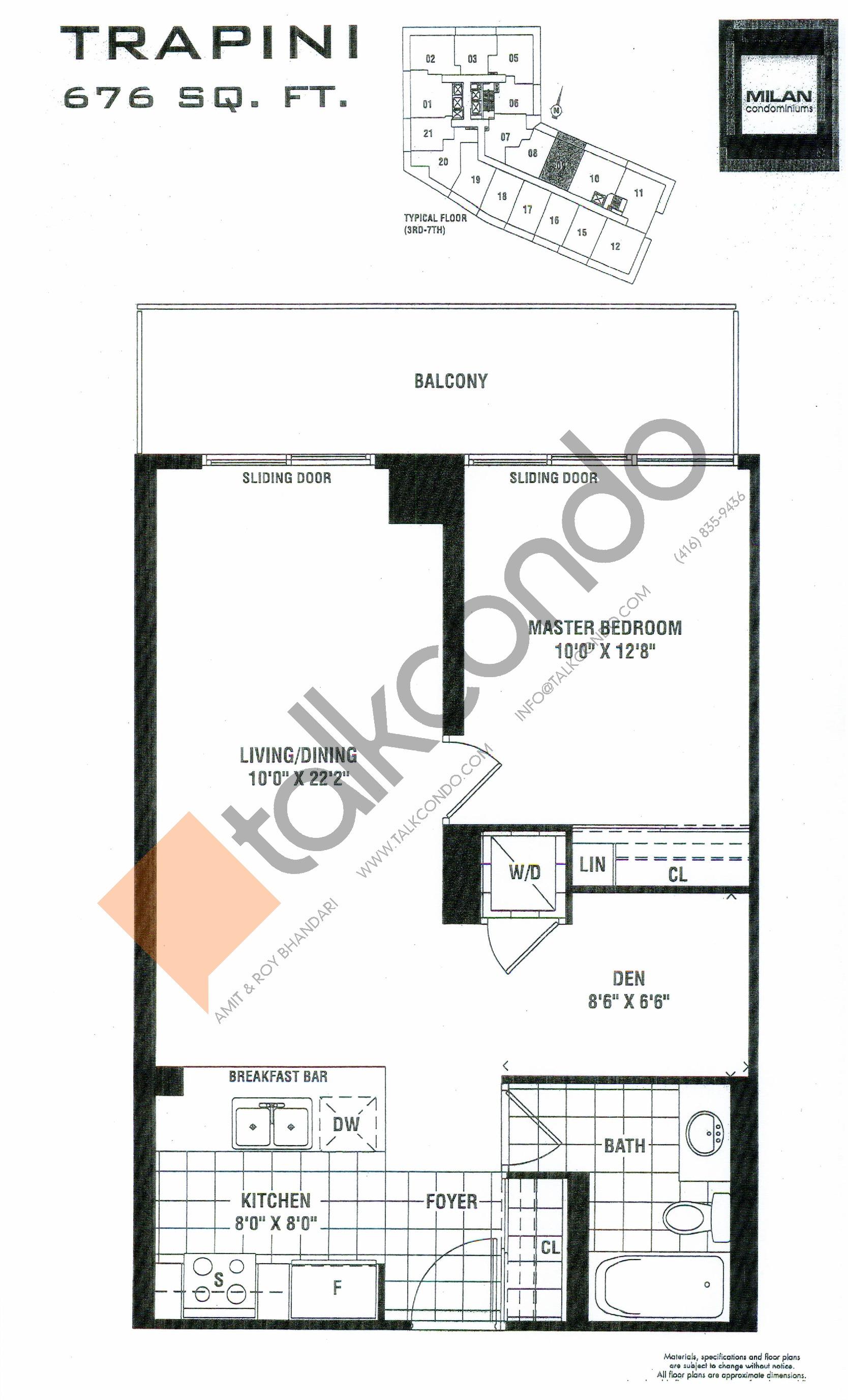 Trapini Floor Plan at Milan Condos - 676 sq.ft