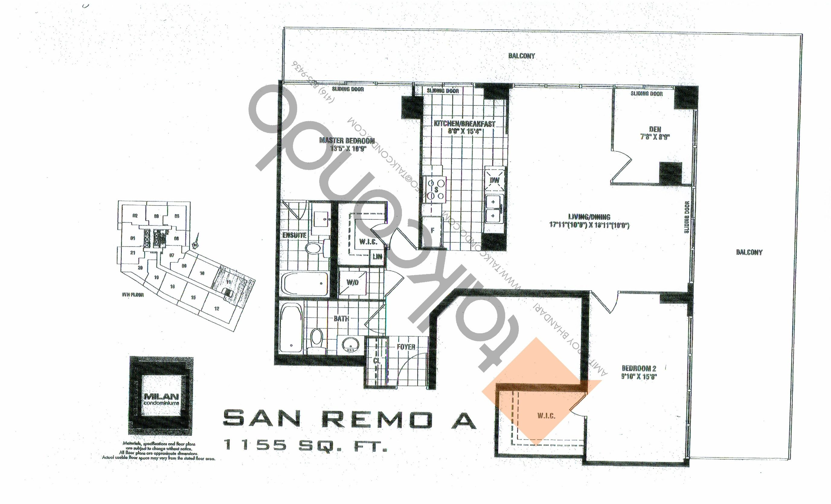 San Remo A Floor Plan at Milan Condos - 1155 sq.ft