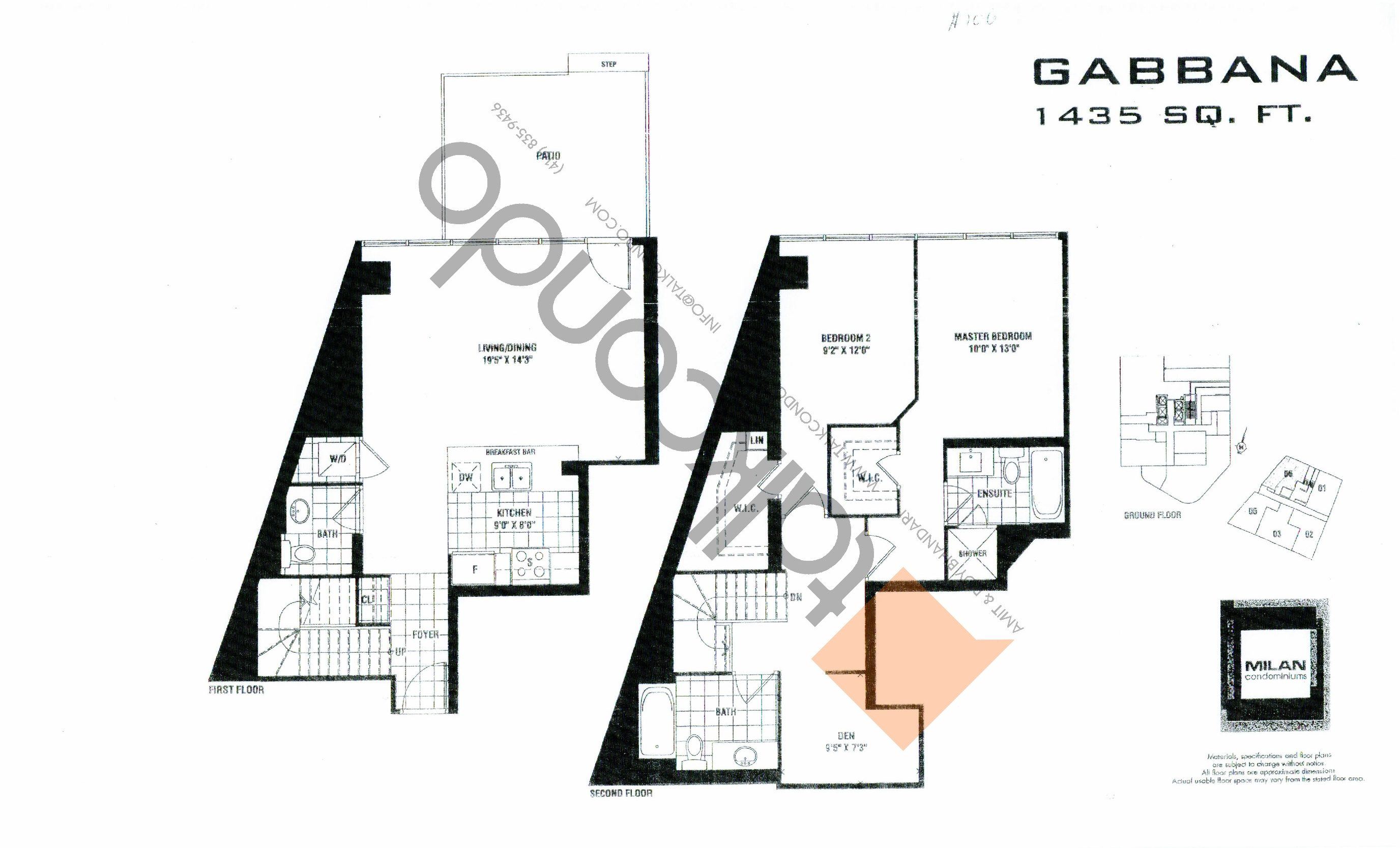 Gabbana Floor Plan at Milan Condos - 1435 sq.ft