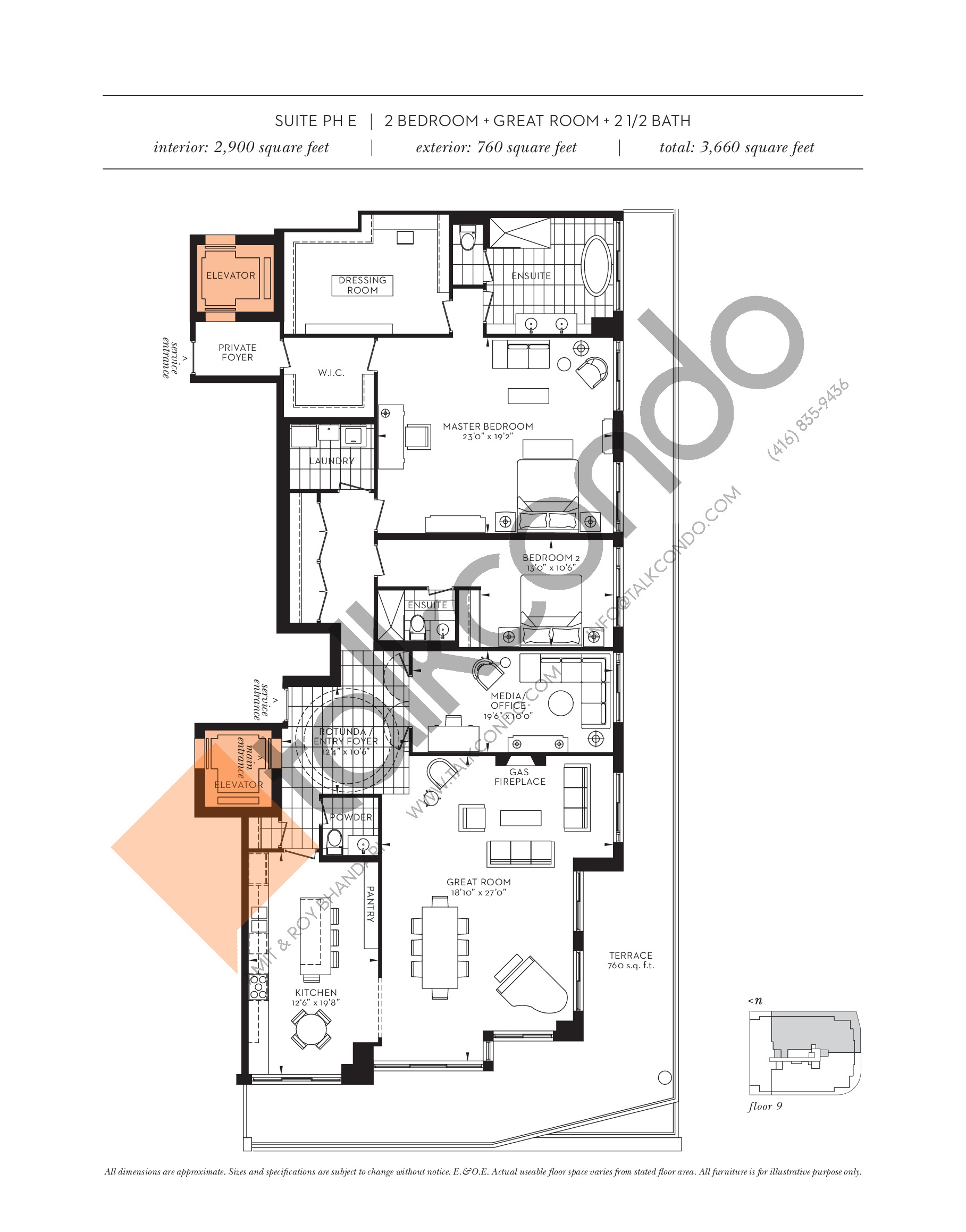 Suite PH E Floor Plan at The Davies - 2900 sq.ft