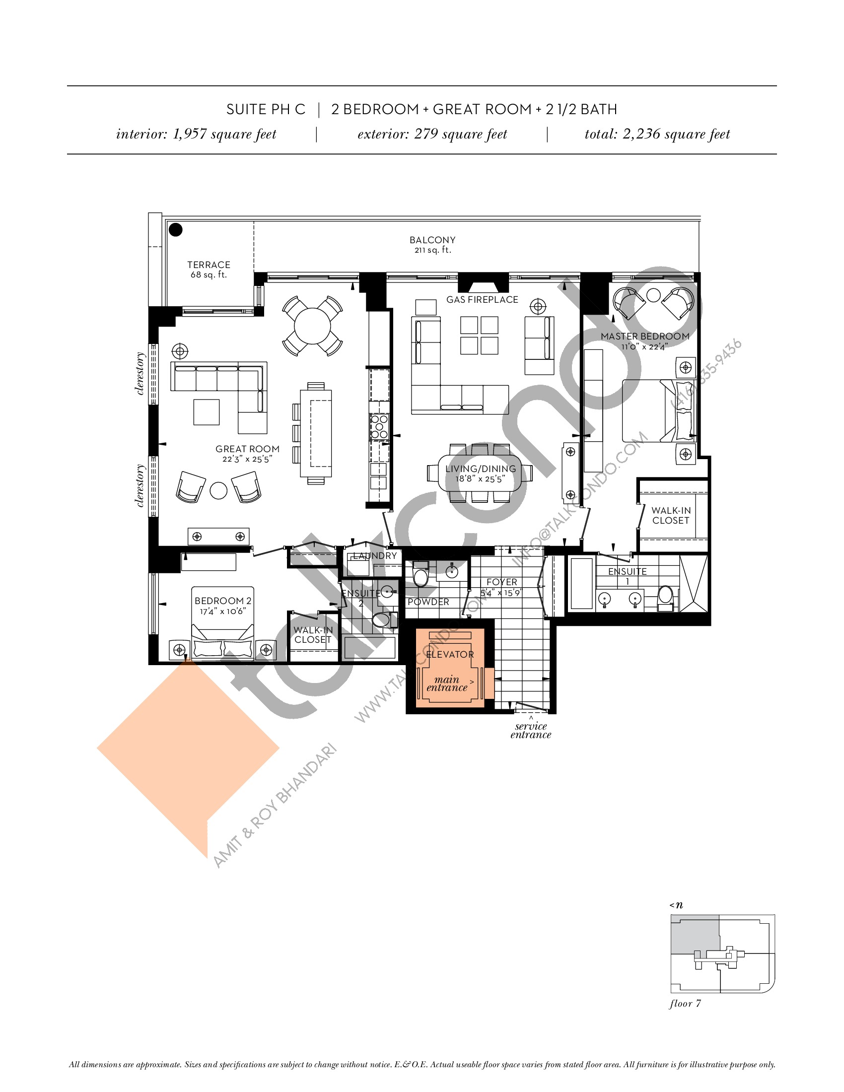 Suite PH C Floor Plan at The Davies - 1957 sq.ft