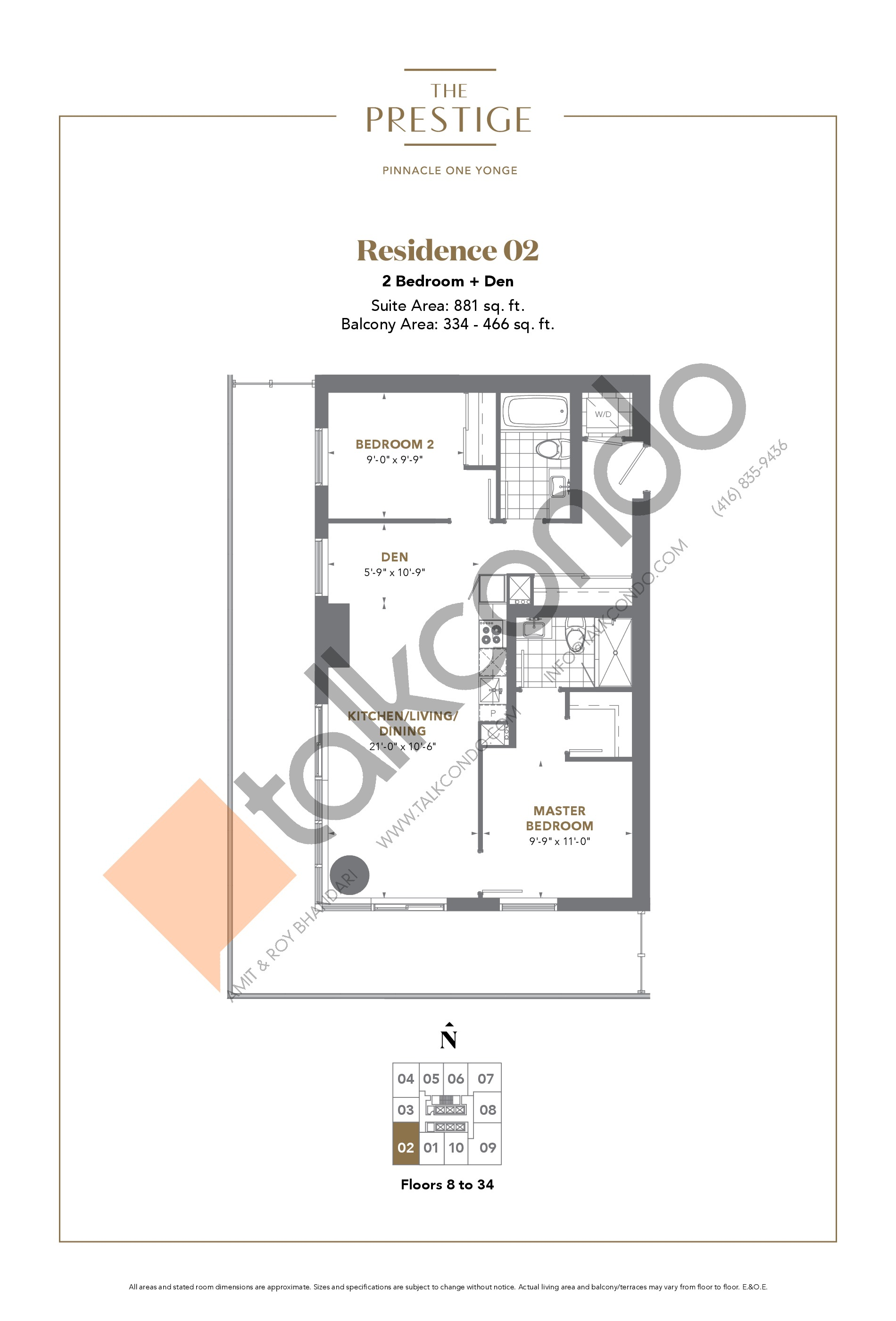 Residence 02 Floor Plan at The Prestige Condos at Pinnacle One Yonge - 881 sq.ft