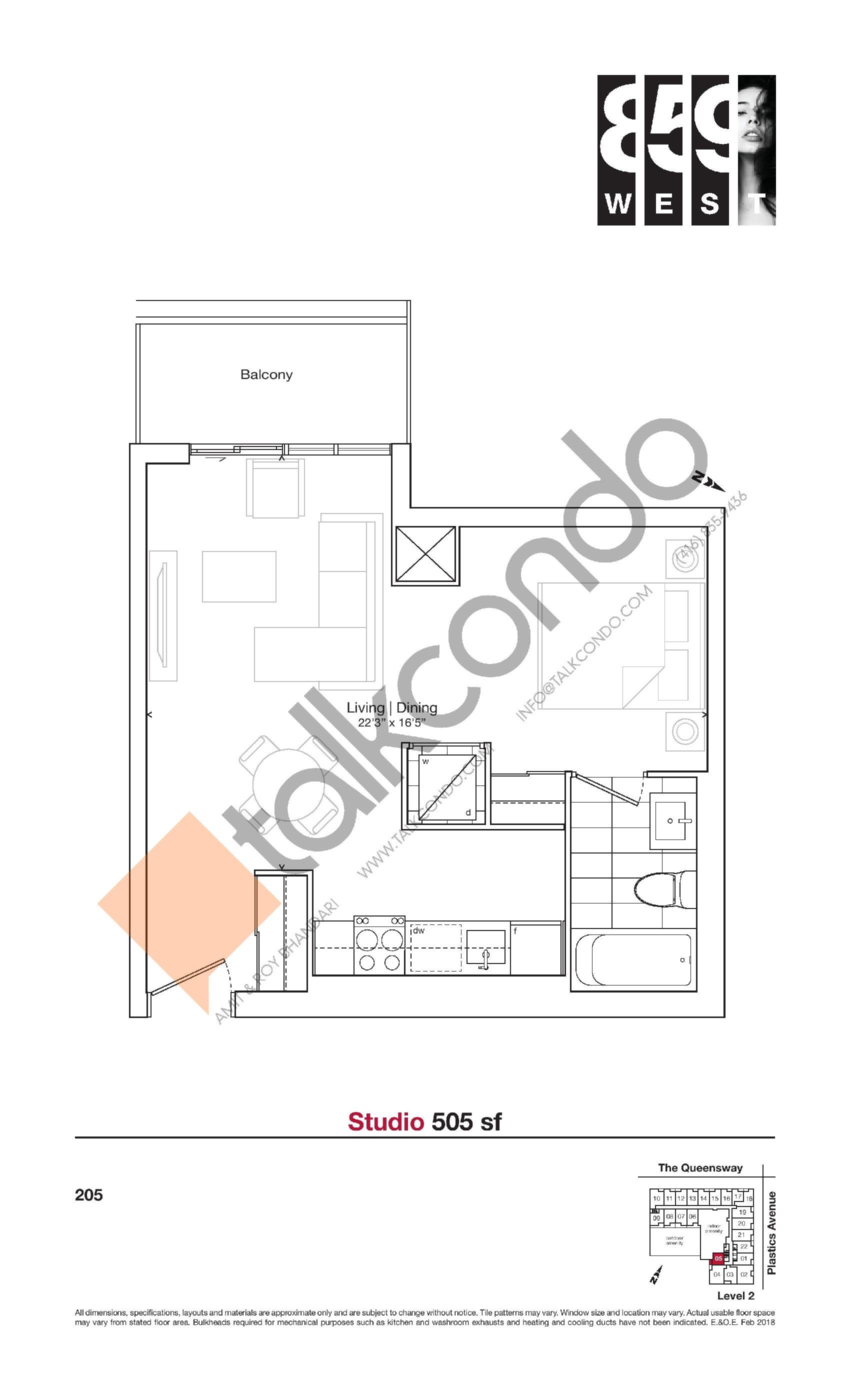 505 sf Floor Plan at 859 West Condos - 505 sq.ft