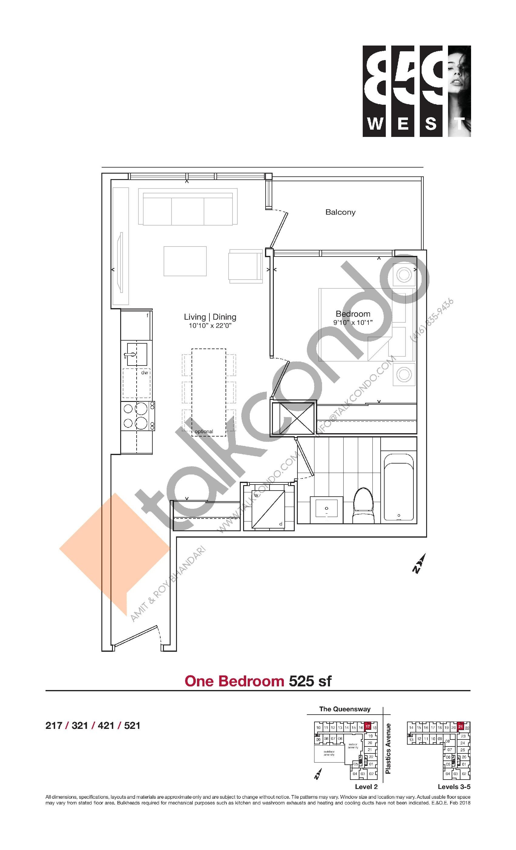 525 sf Floor Plan at 859 West Condos - 525 sq.ft
