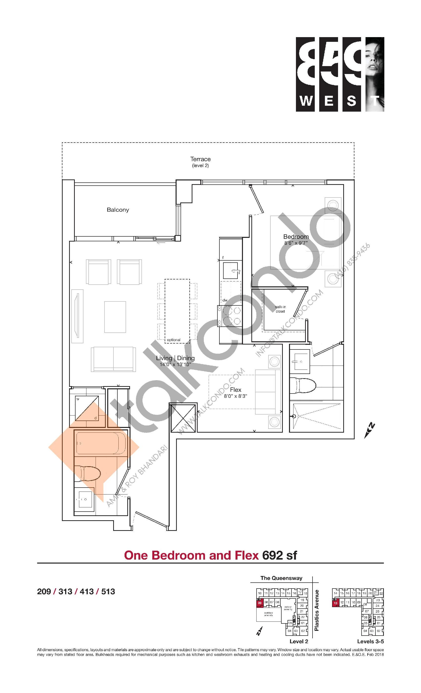 692 sf Floor Plan at 859 West Condos - 692 sq.ft