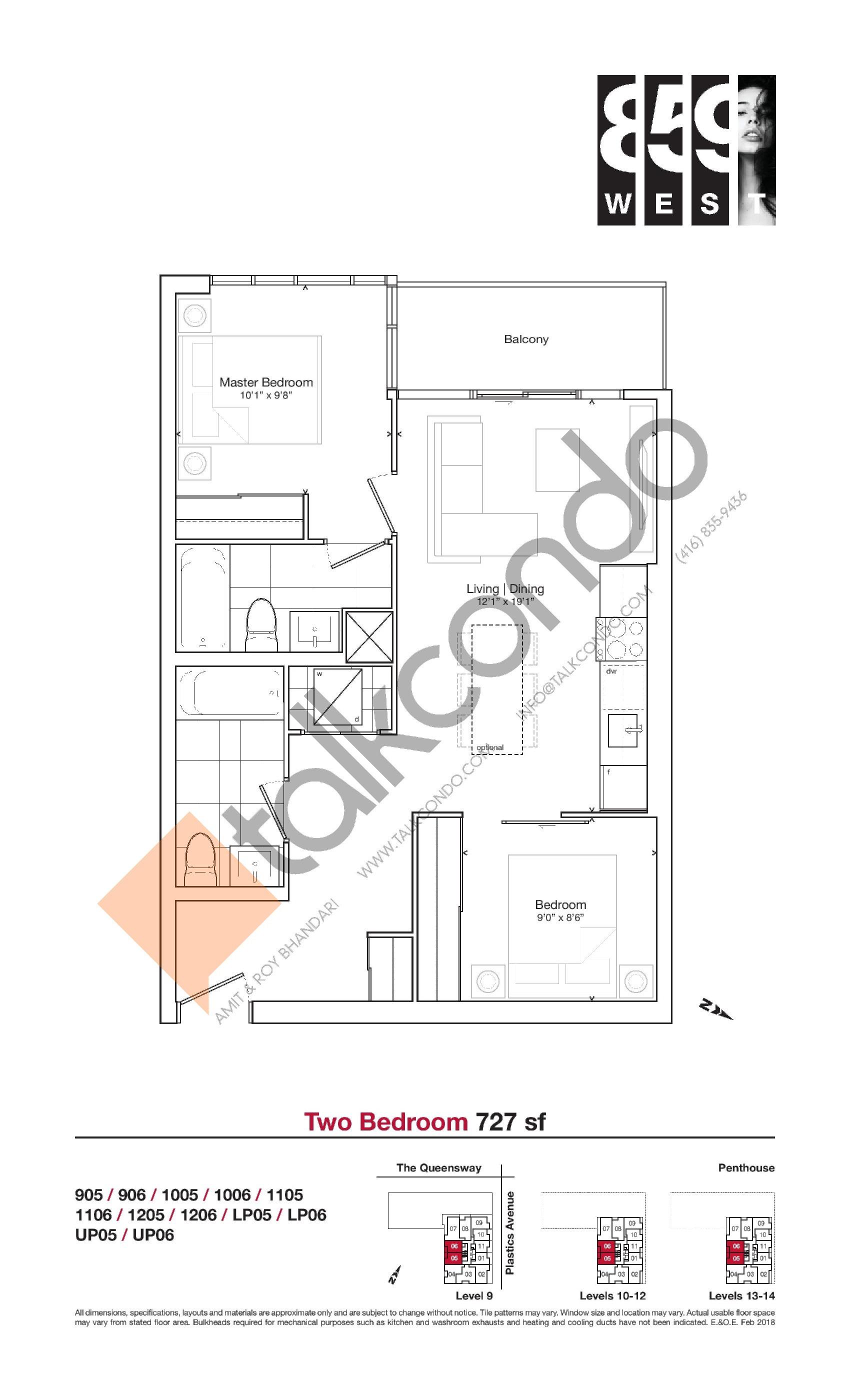 727 sf Floor Plan at 859 West Condos - 727 sq.ft