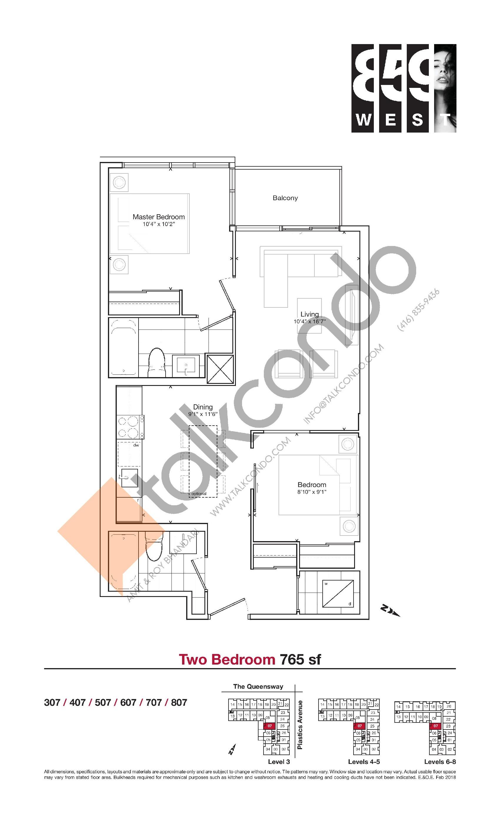 765 sf Floor Plan at 859 West Condos - 765 sq.ft