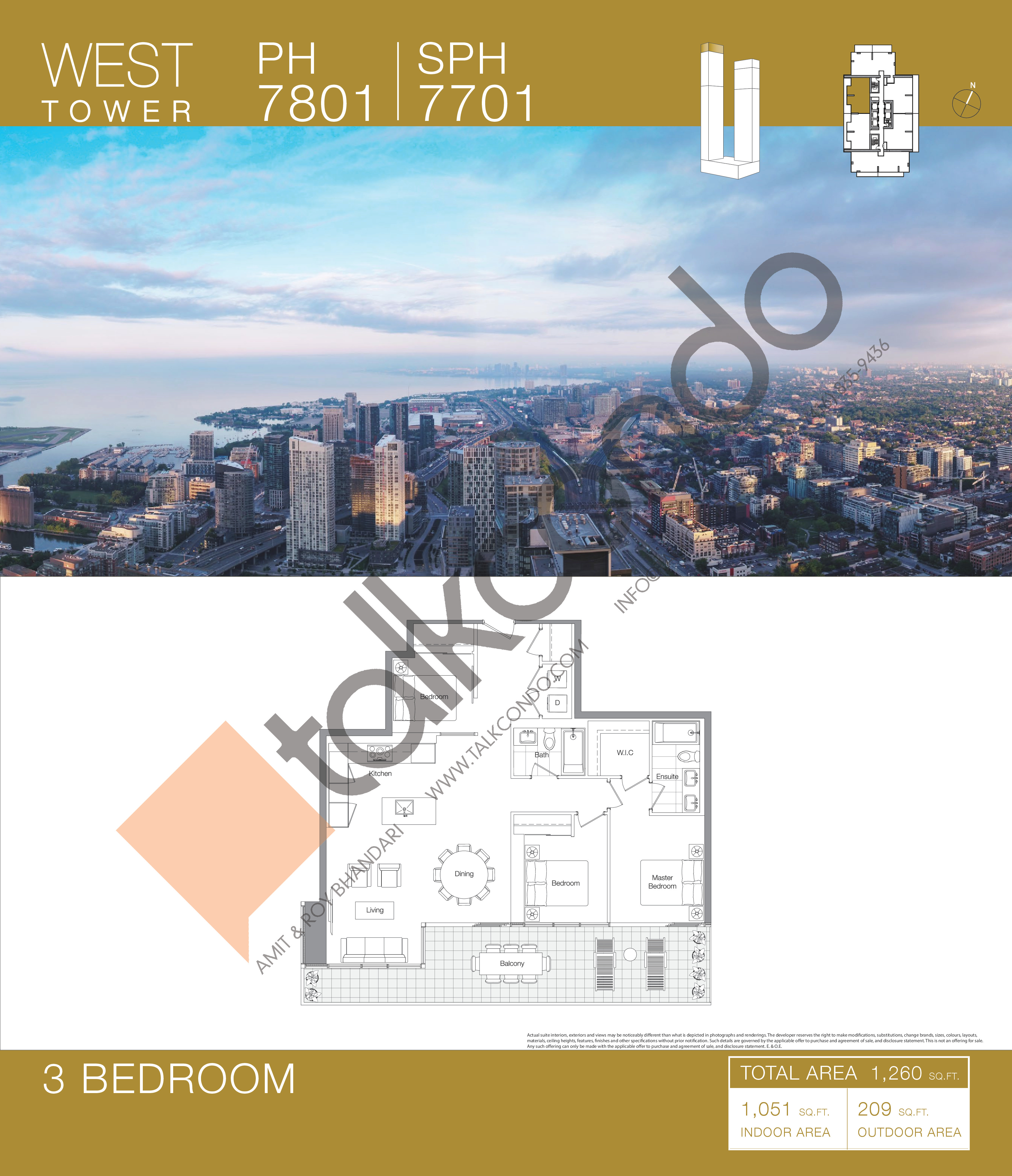 PH 7801 | SPH 7701 Floor Plan at Concord Canada House Condos - 1051 sq.ft