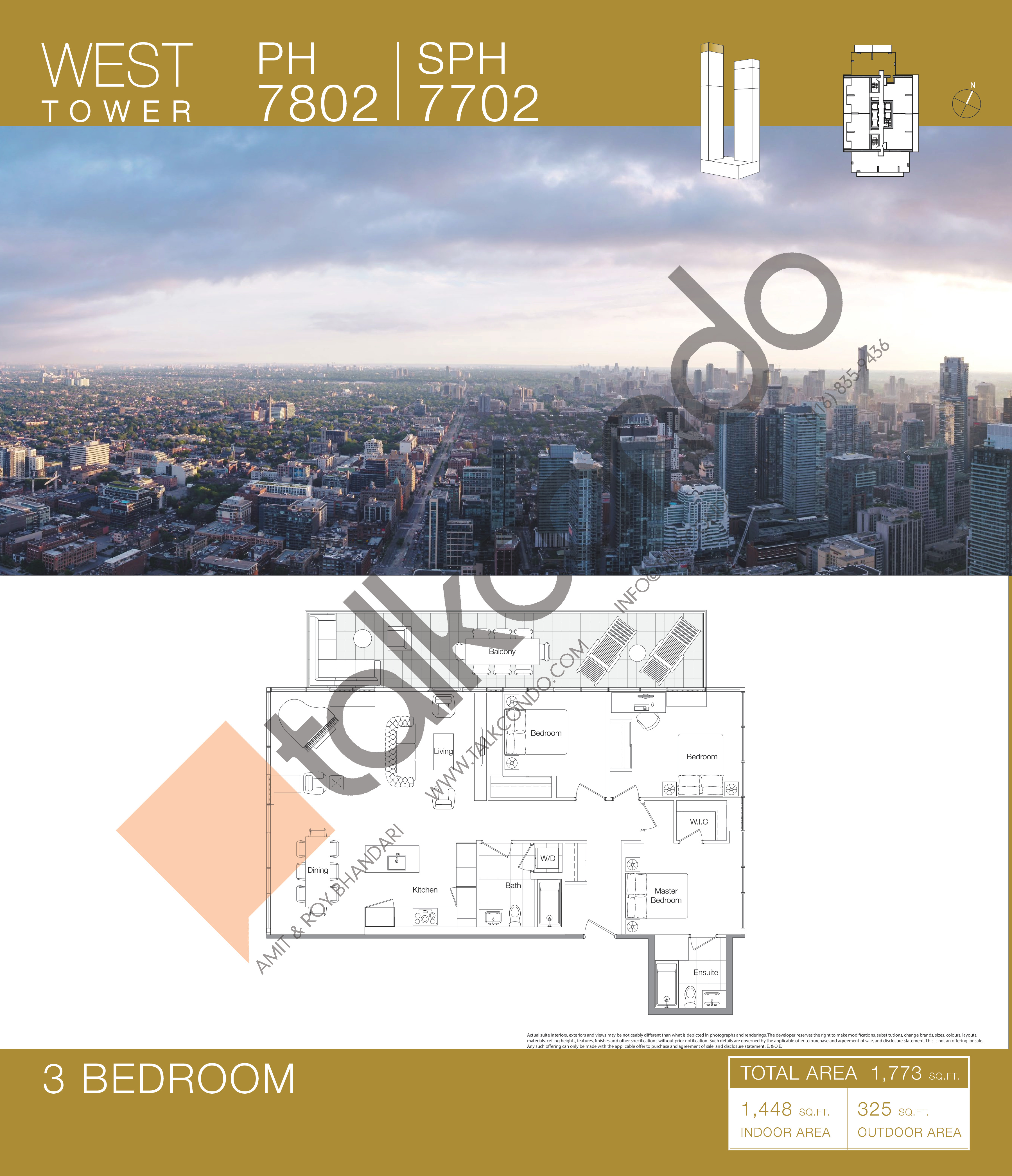 PH 7802 | SPH 7702 Floor Plan at Concord Canada House Condos - 1448 sq.ft