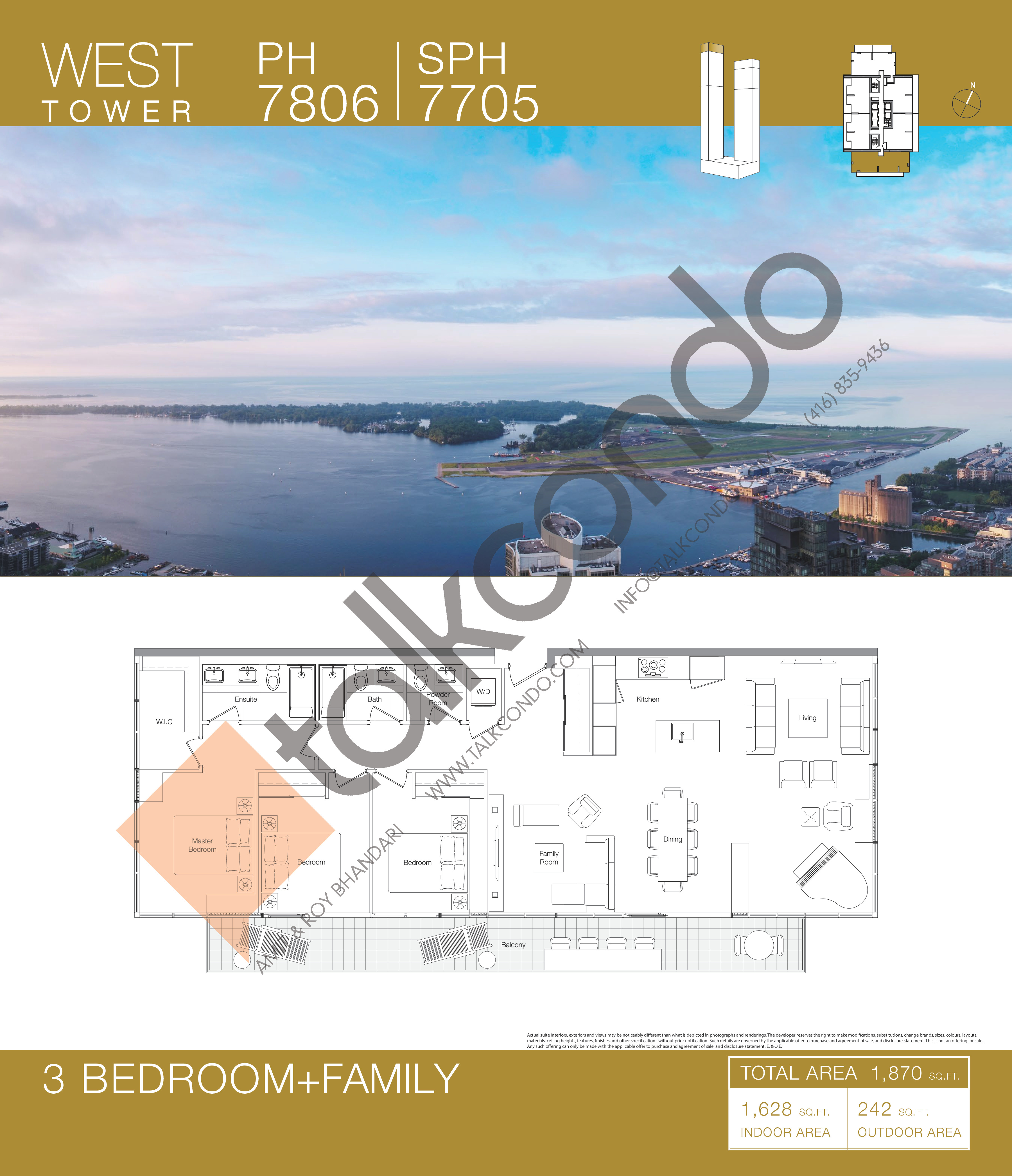 PH 7806 | SPH 7705 Floor Plan at Concord Canada House Condos - 1628 sq.ft