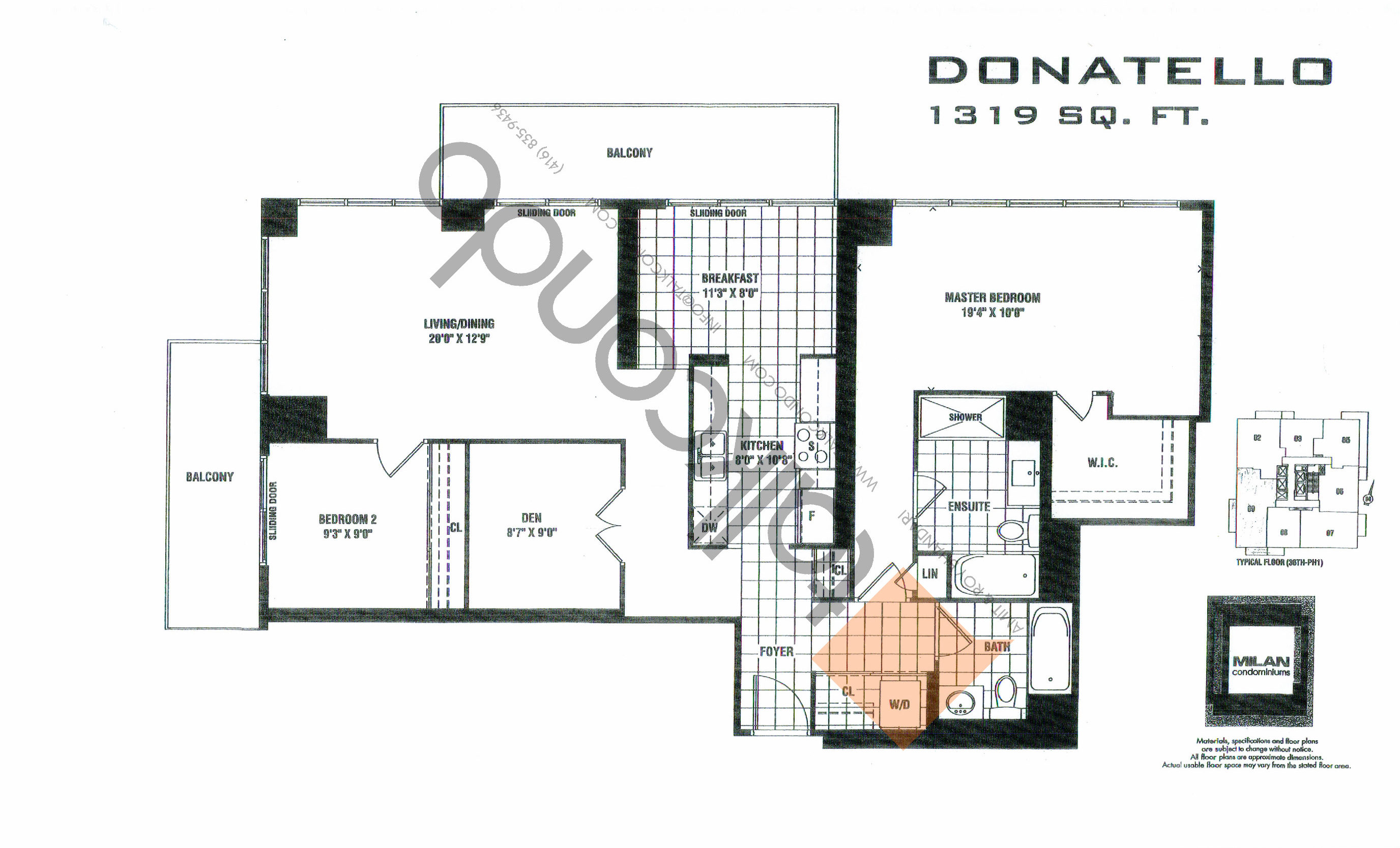 Donatello Floor Plan at Milan Condos - 1319 sq.ft