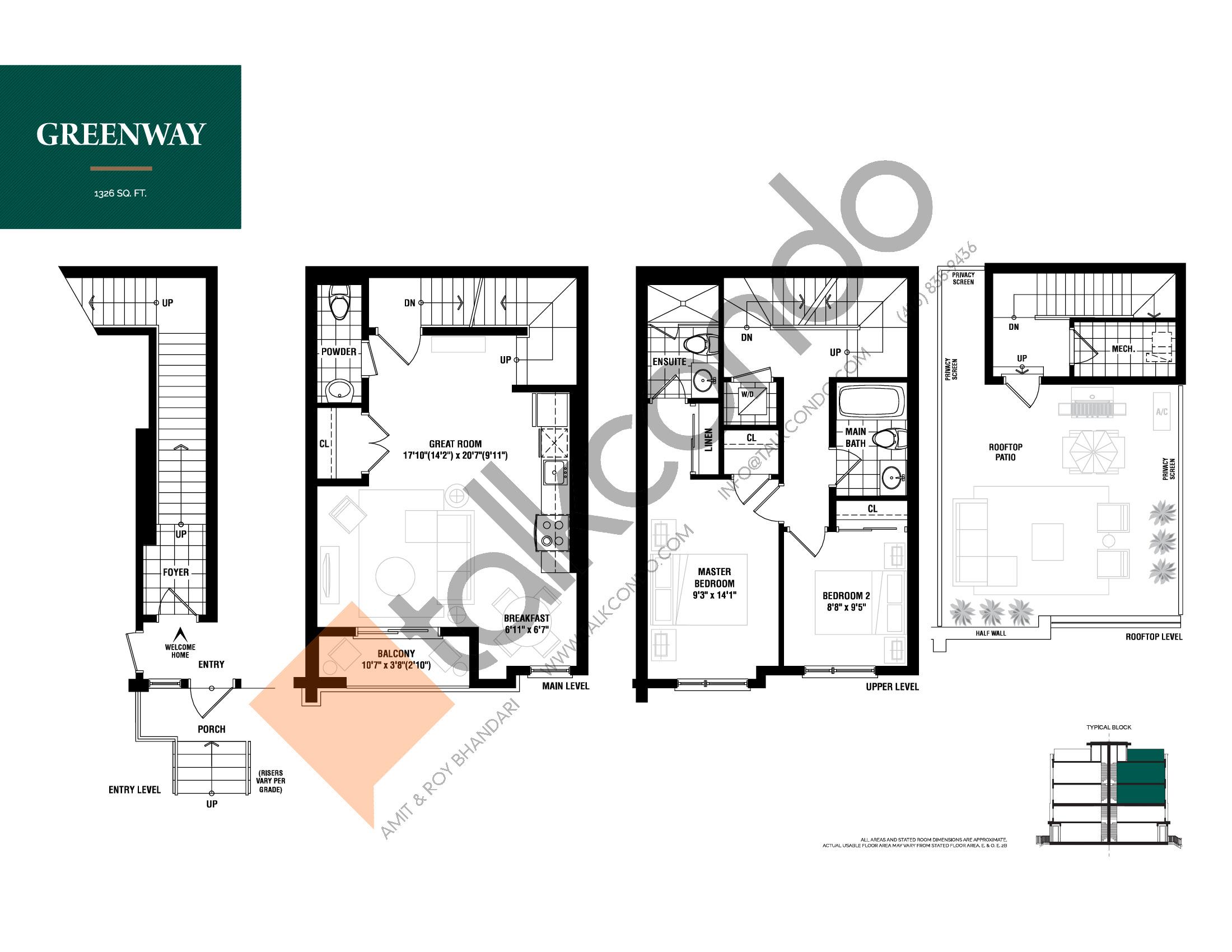Greenway Floor Plan at The Way Urban Towns - 1326 sq.ft