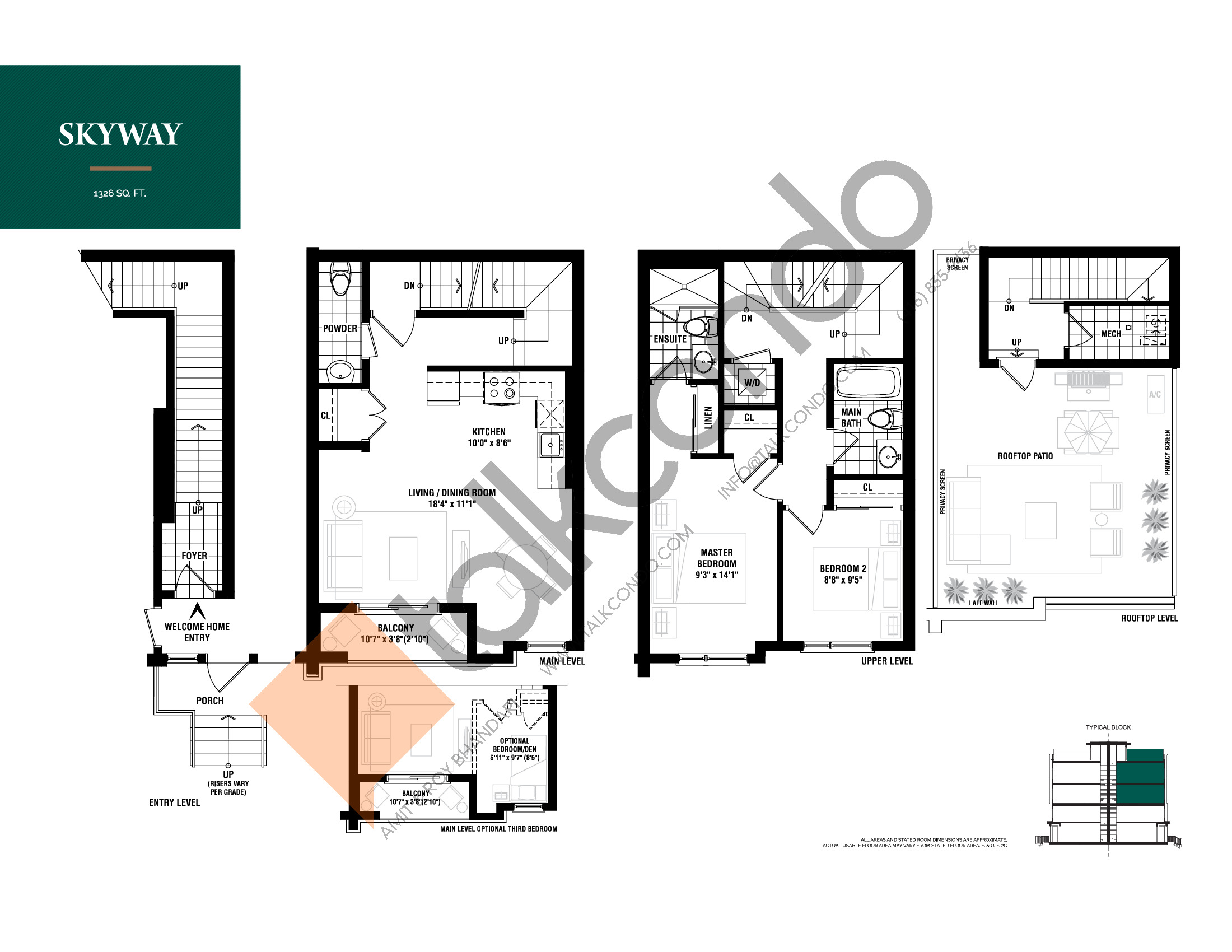Skyway Floor Plan at The Way Urban Towns - 1326 sq.ft
