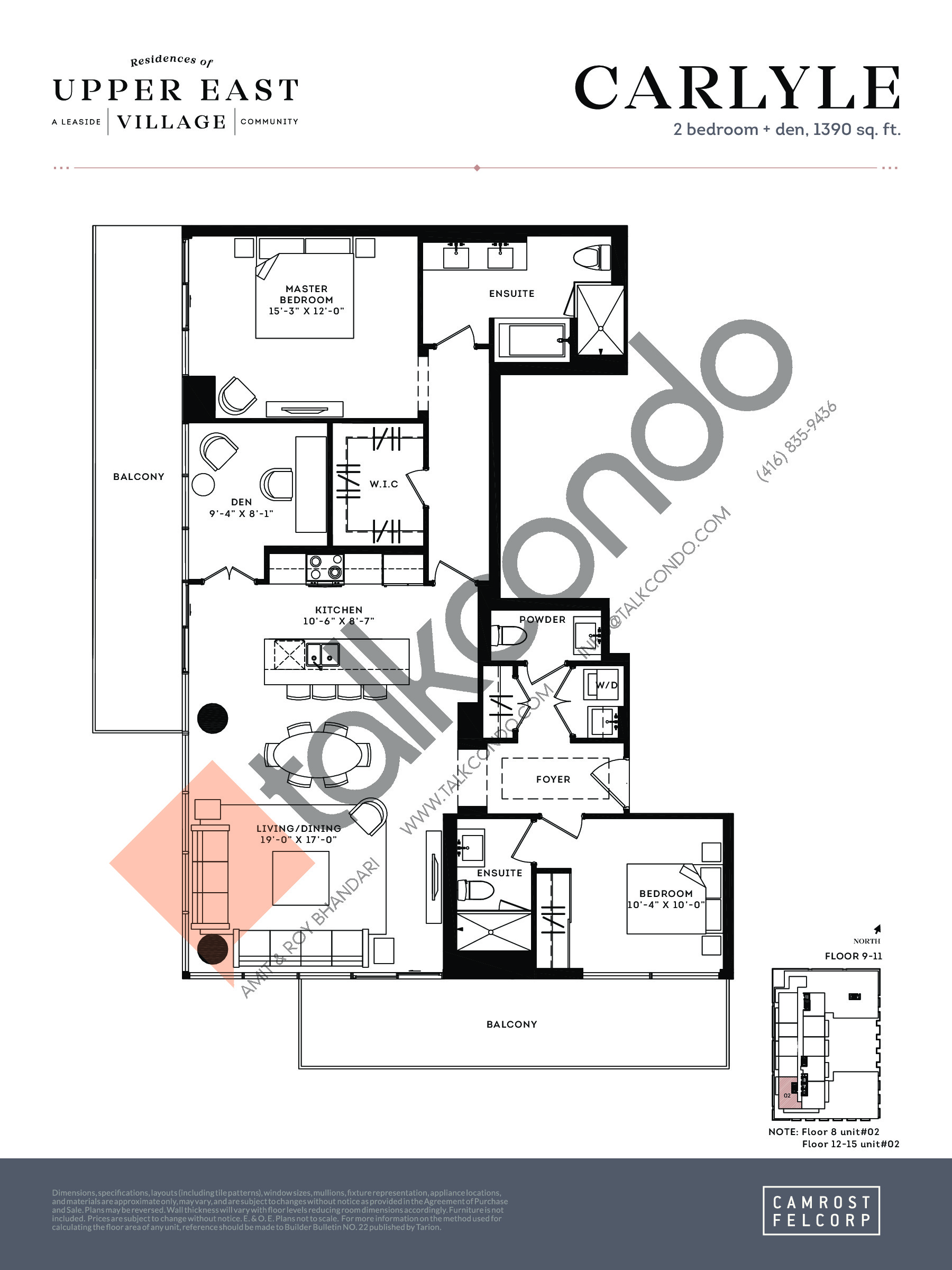 Carlyle Floor Plan at Upper East Village Condos - 1390 sq.ft