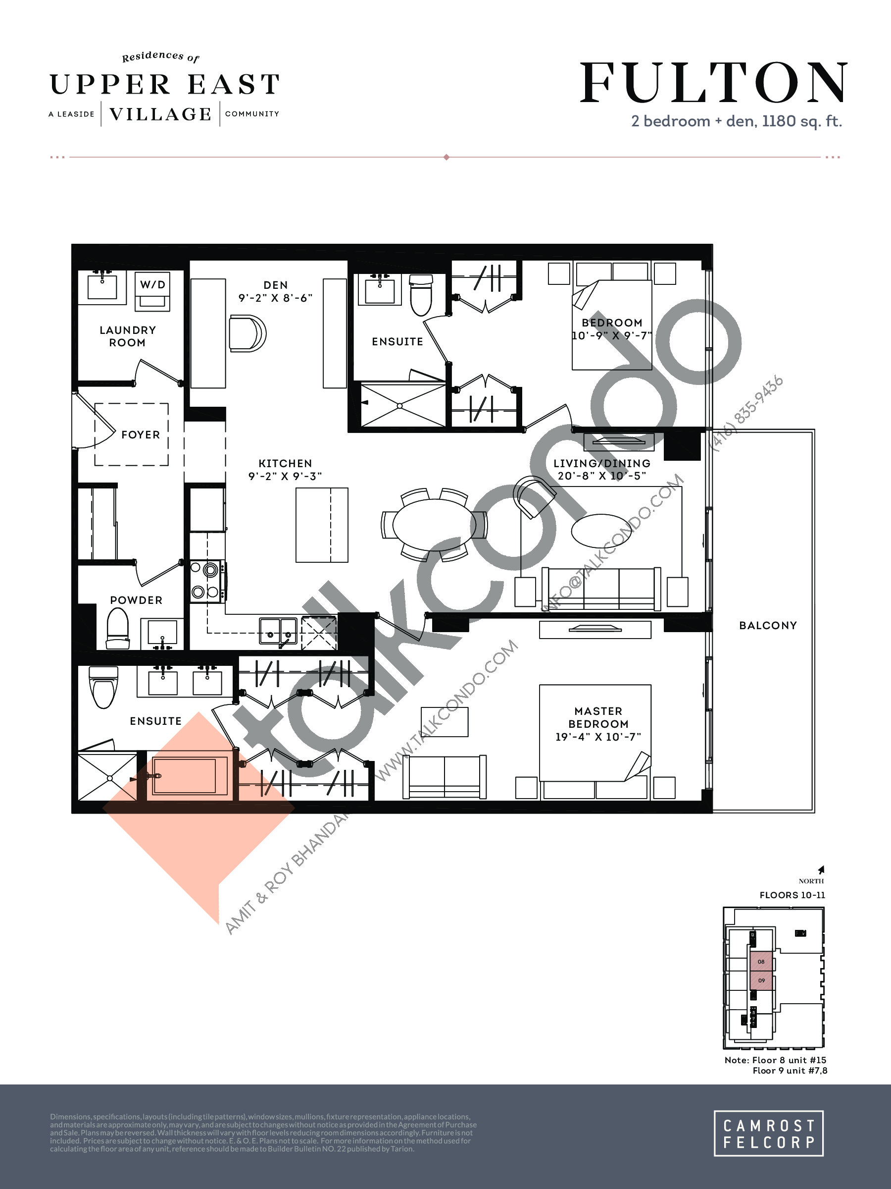 Fulton (Signature Collection) Floor Plan at Upper East Village Condos - 1180 sq.ft