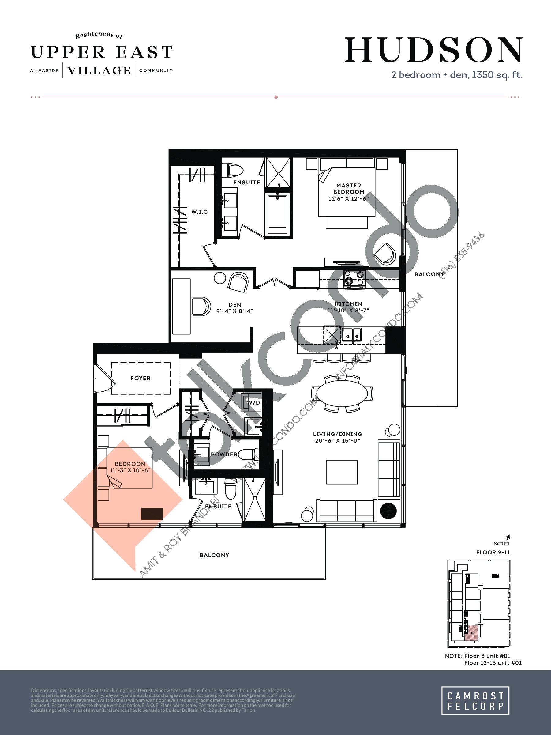 Hudson Floor Plan at Upper East Village Condos - 1350 sq.ft