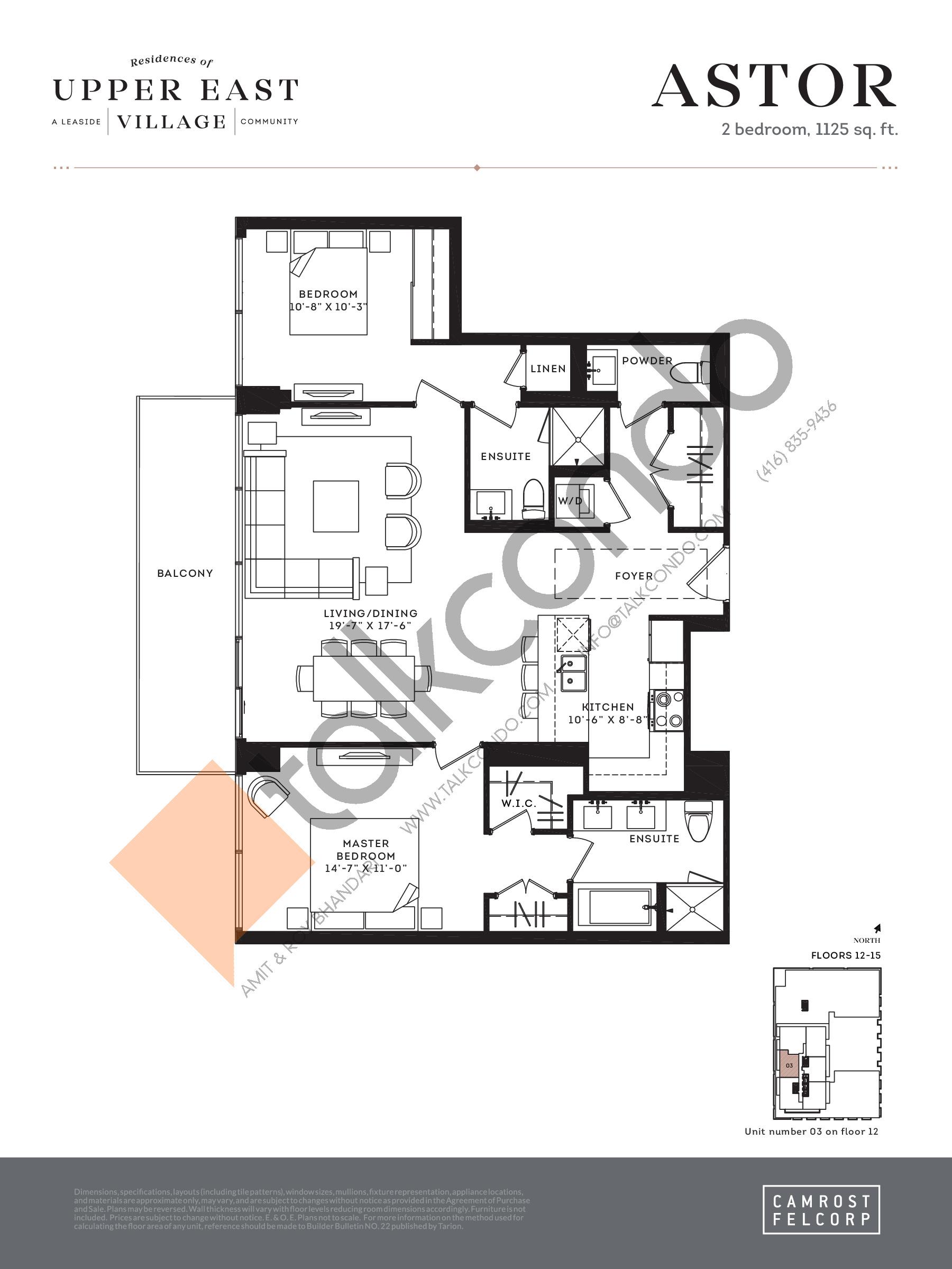 Astor Floor Plan at Upper East Village Condos - 1125 sq.ft