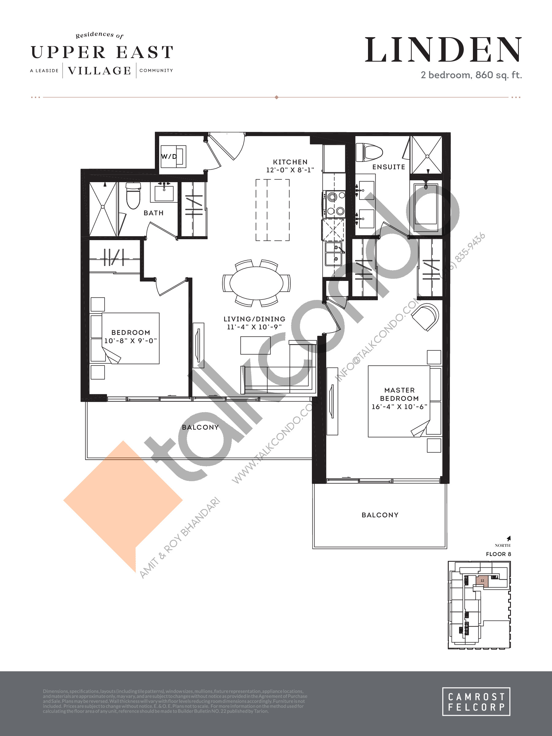 Linden Floor Plan at Upper East Village Condos - 860 sq.ft