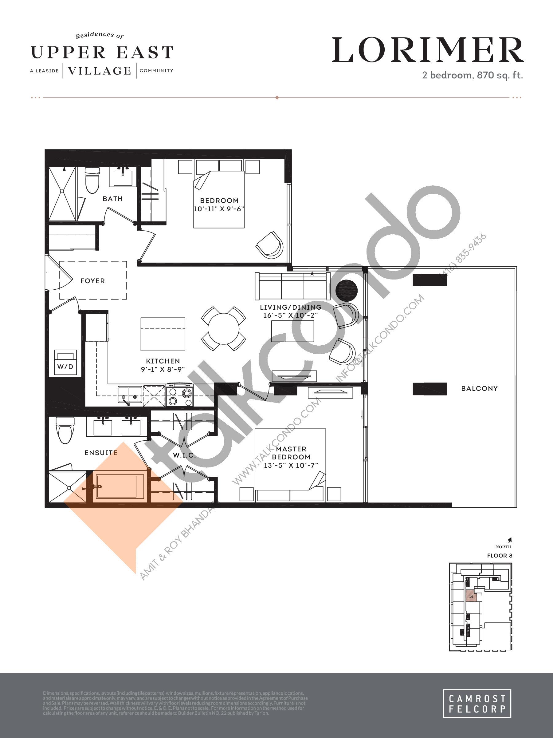 Lorimer Floor Plan at Upper East Village Condos - 870 sq.ft