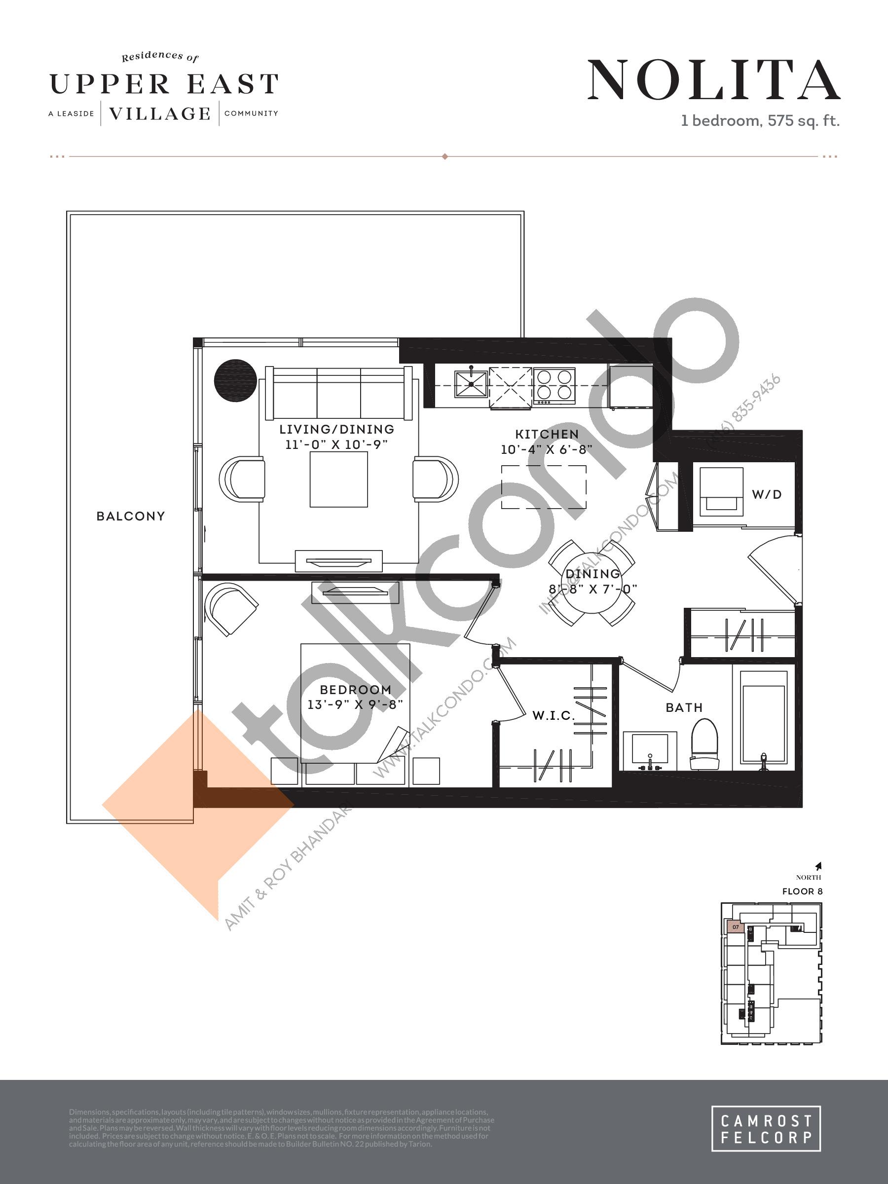 Nolita Floor Plan at Upper East Village Condos - 575 sq.ft