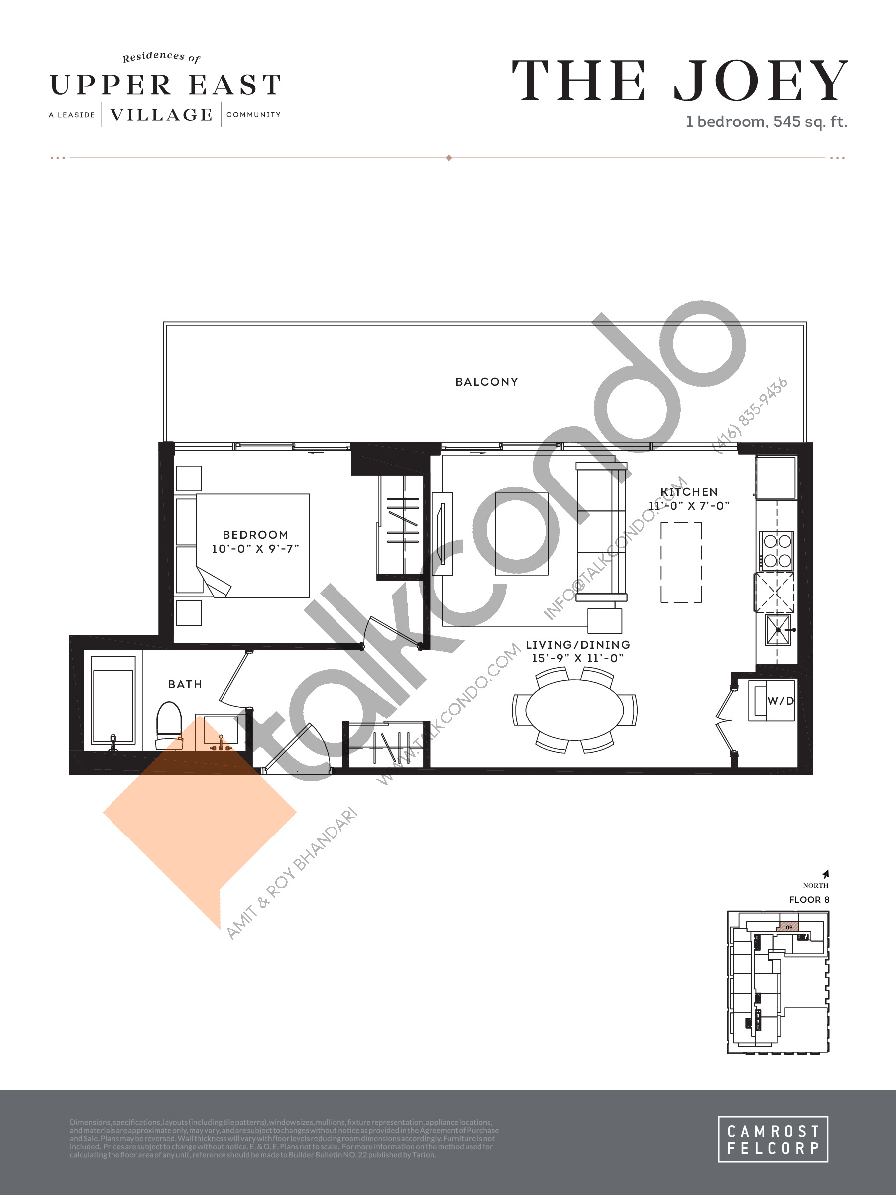 The Joey Floor Plan at Upper East Village Condos - 545 sq.ft