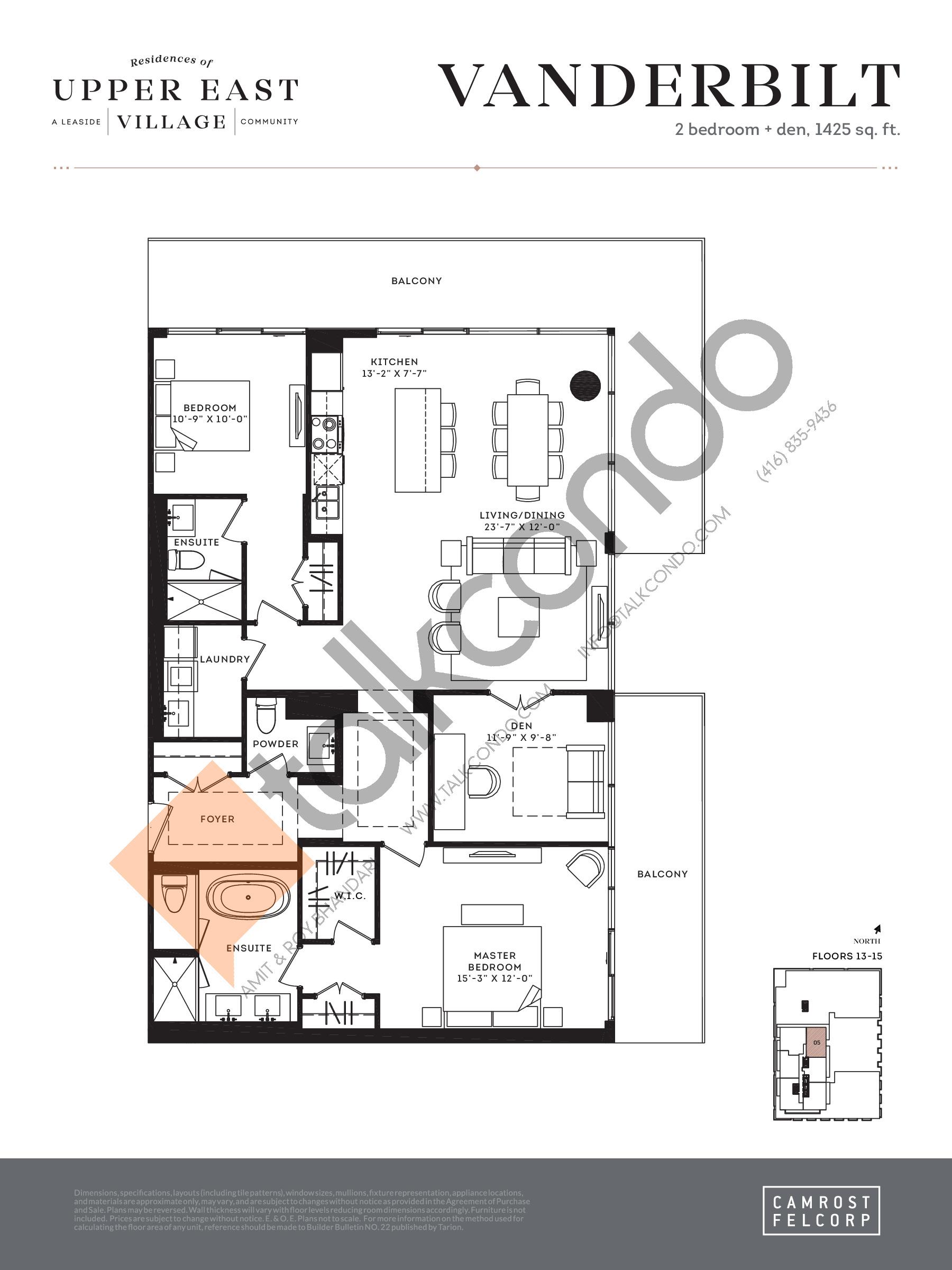 Vanderbilt (Signature Collection) Floor Plan at Upper East Village Condos - 1425 sq.ft
