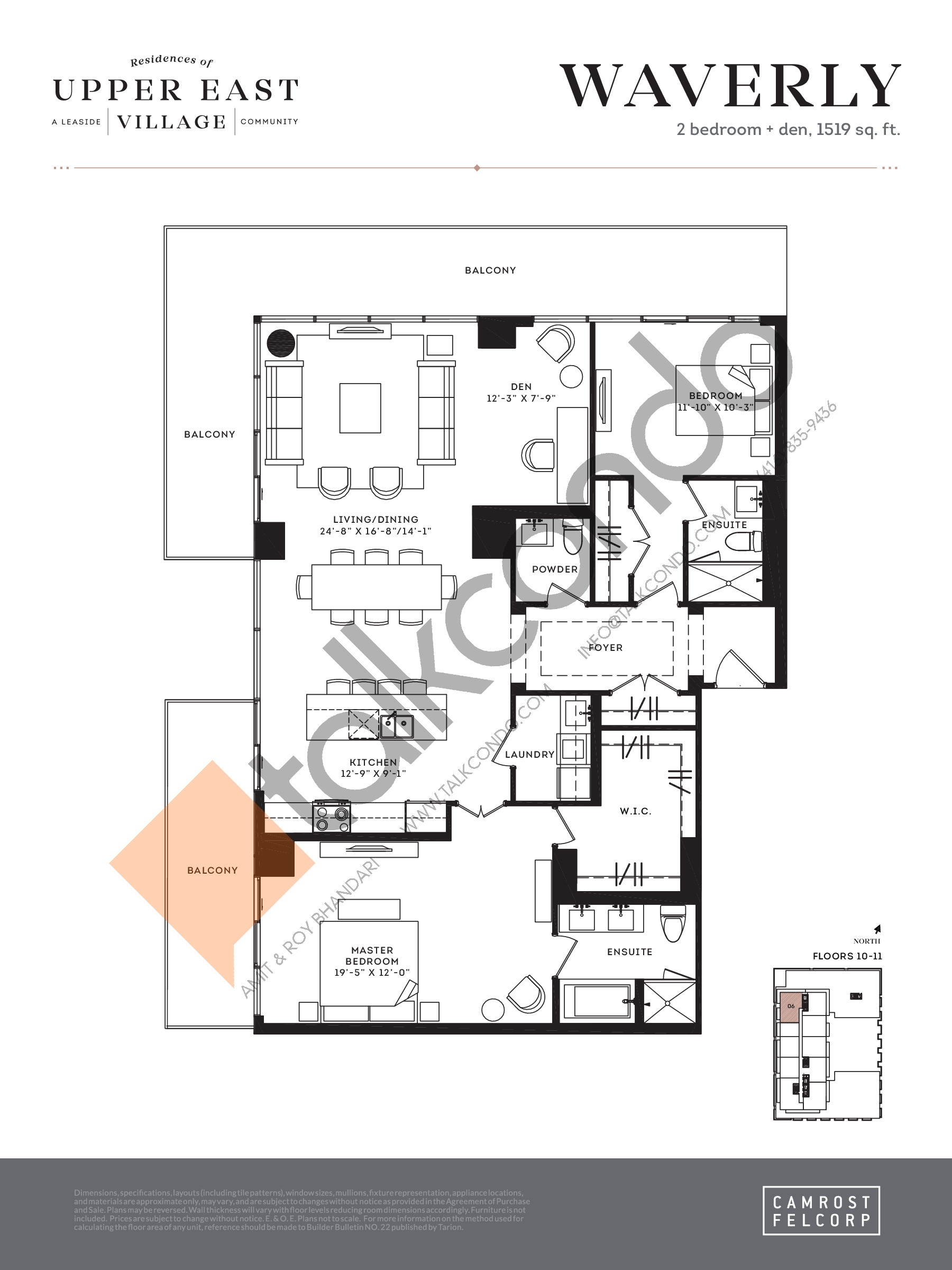 Waverly Floor Plan at Upper East Village Condos - 1519 sq.ft