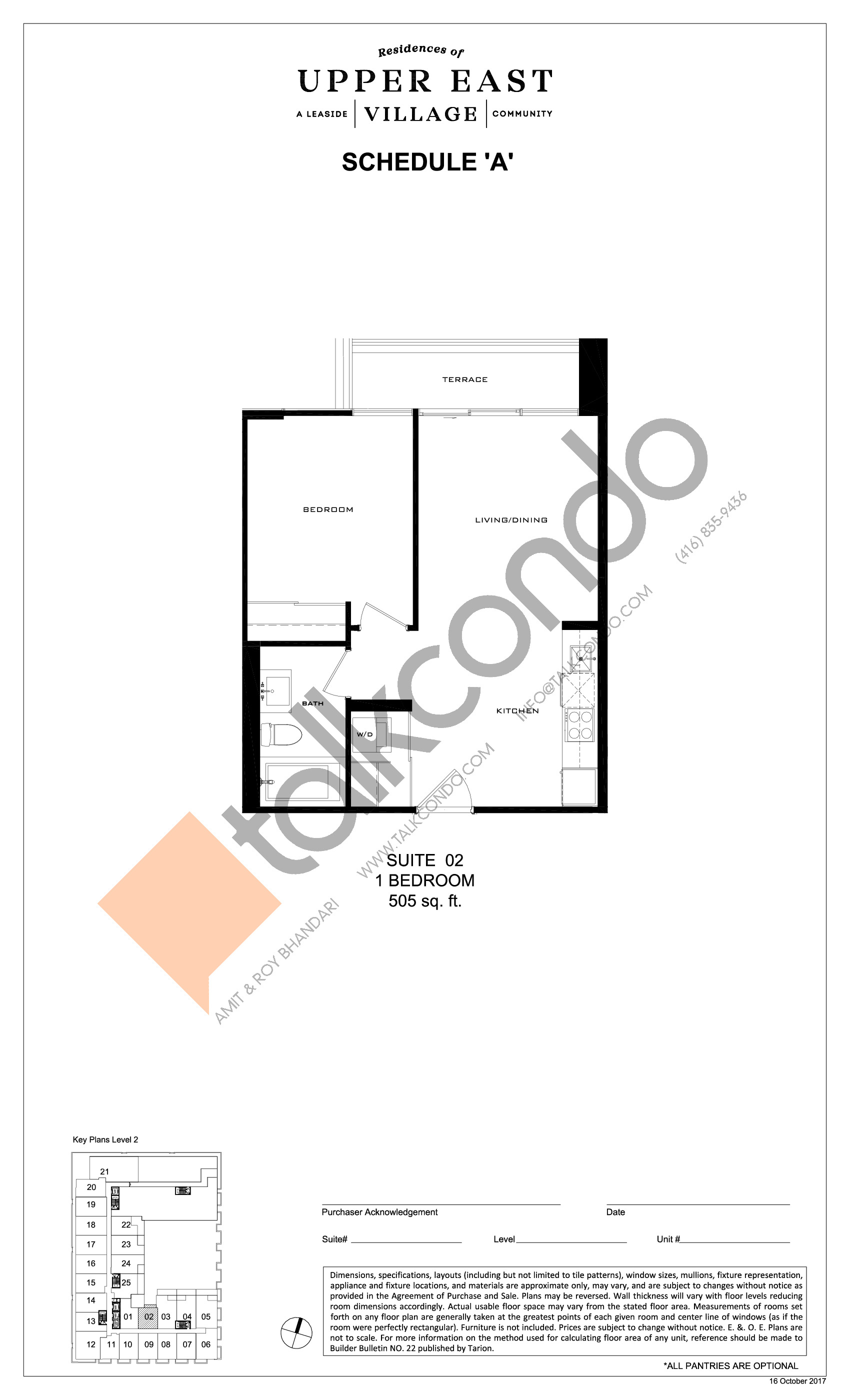 Suite 02 Floor Plan at Upper East Village Condos - 505 sq.ft