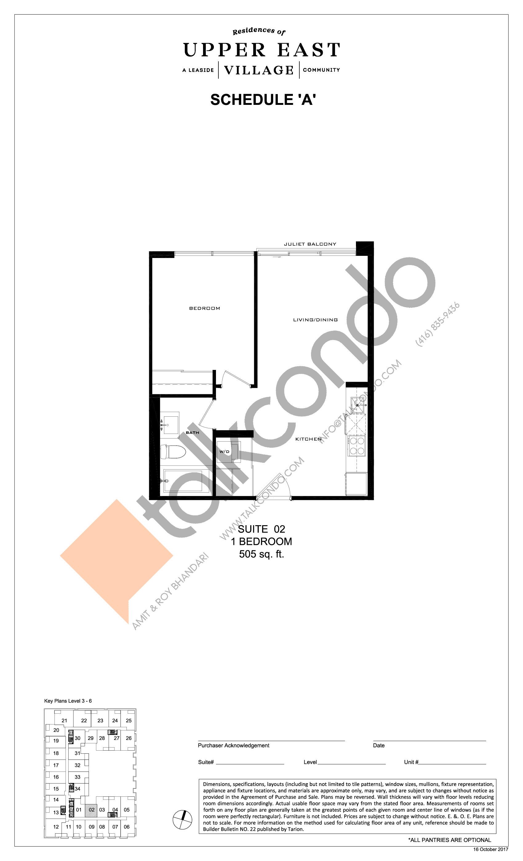 Suite 02 Floor Plan at Upper East Village Condos - 505 sq.ft