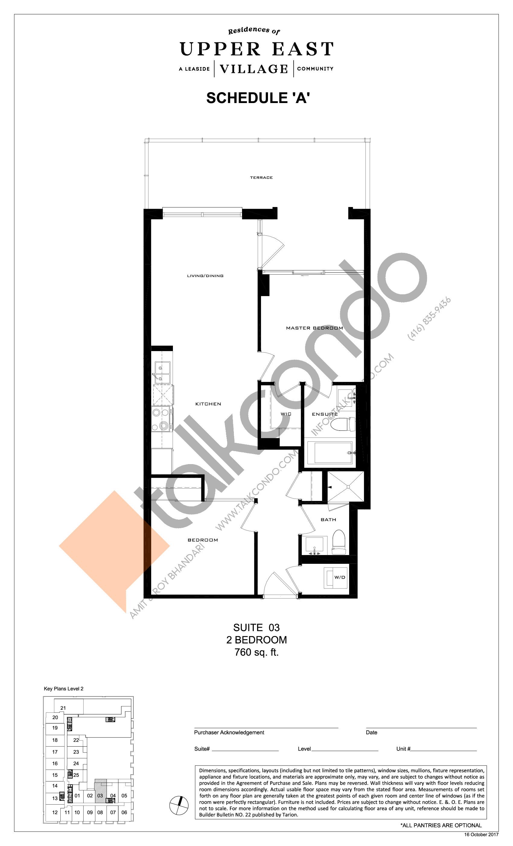 Suite 03 Floor Plan at Upper East Village Condos - 760 sq.ft