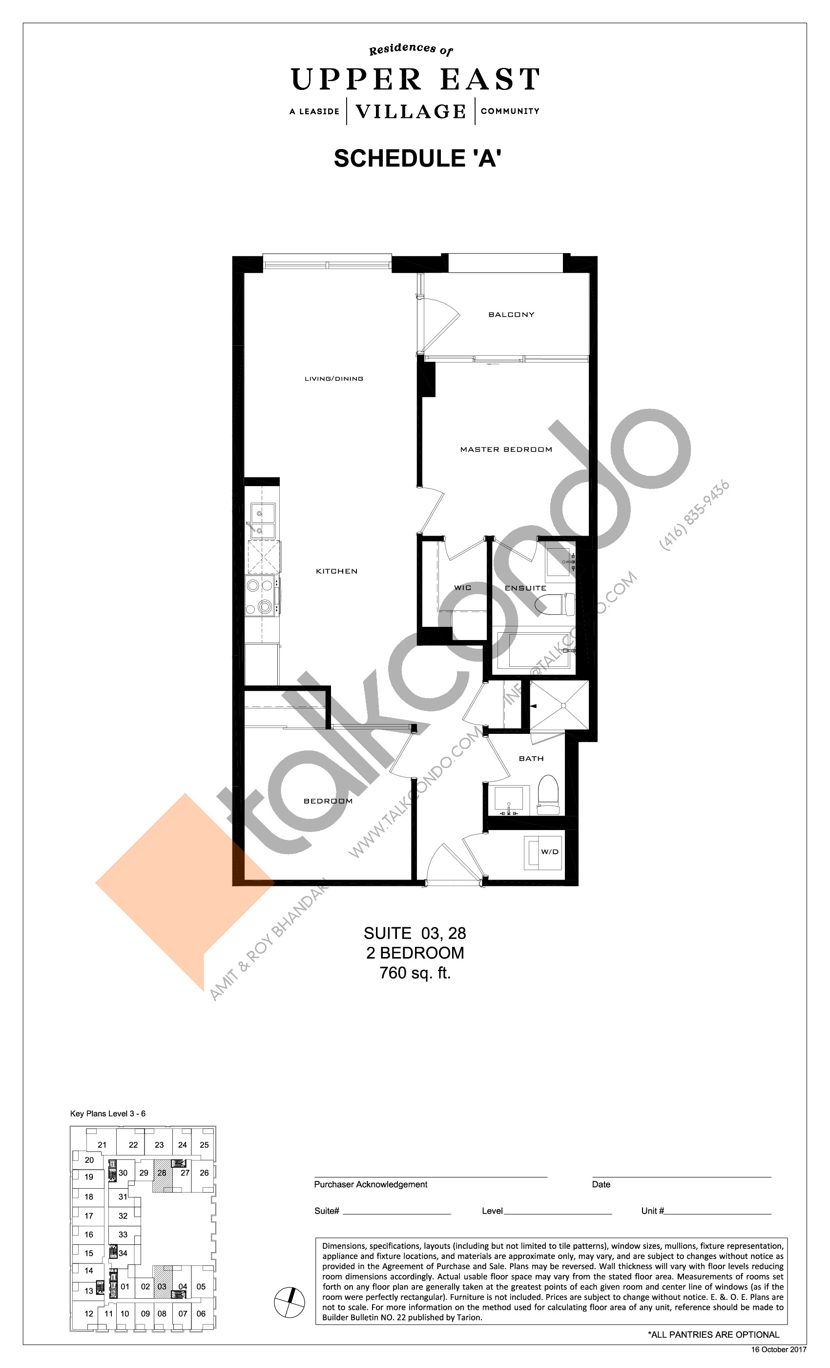 Suite 03, 28 Floor Plan at Upper East Village Condos - 760 sq.ft