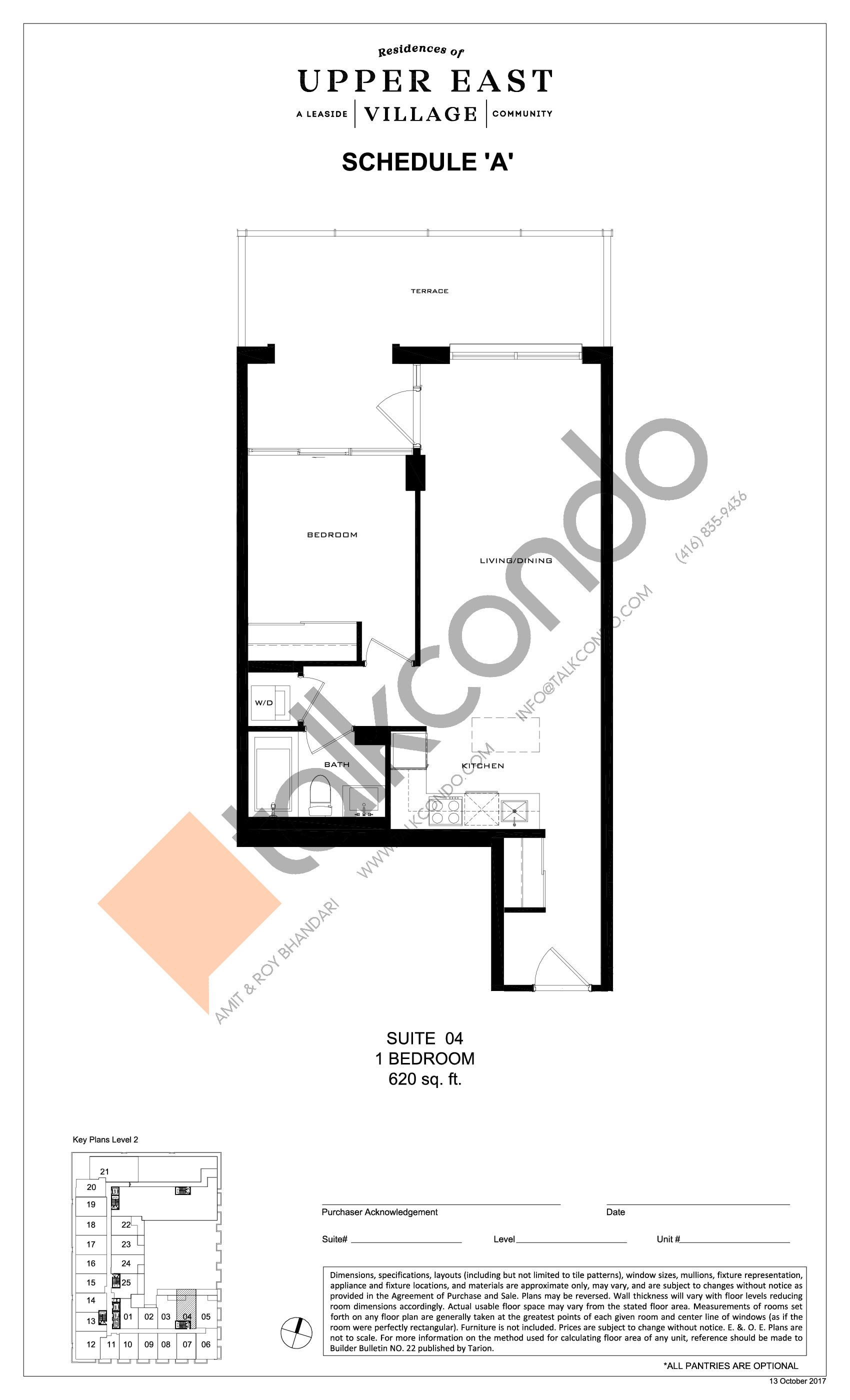 Suite 04 Floor Plan at Upper East Village Condos - 620 sq.ft