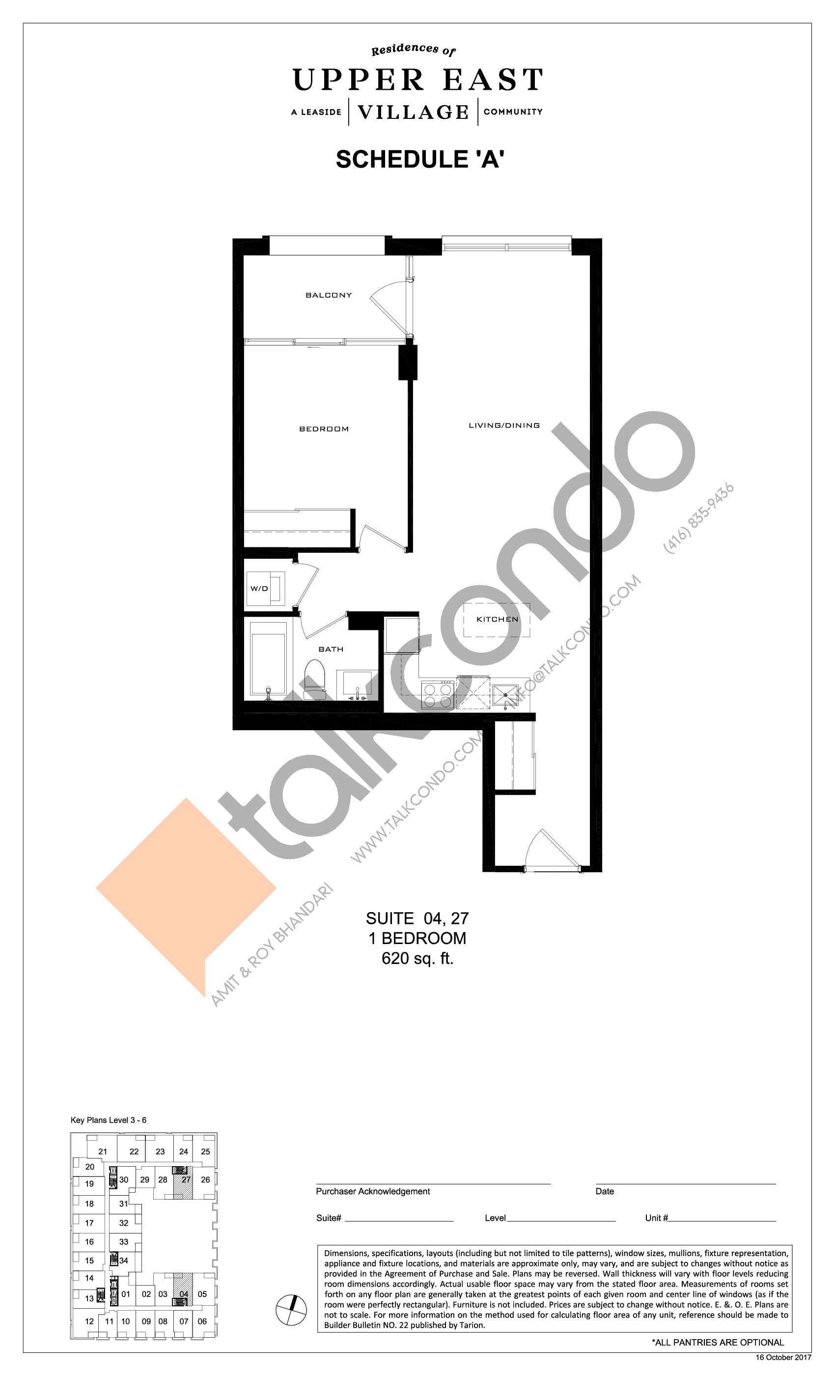 Suite 04, 27 Floor Plan at Upper East Village Condos - 620 sq.ft