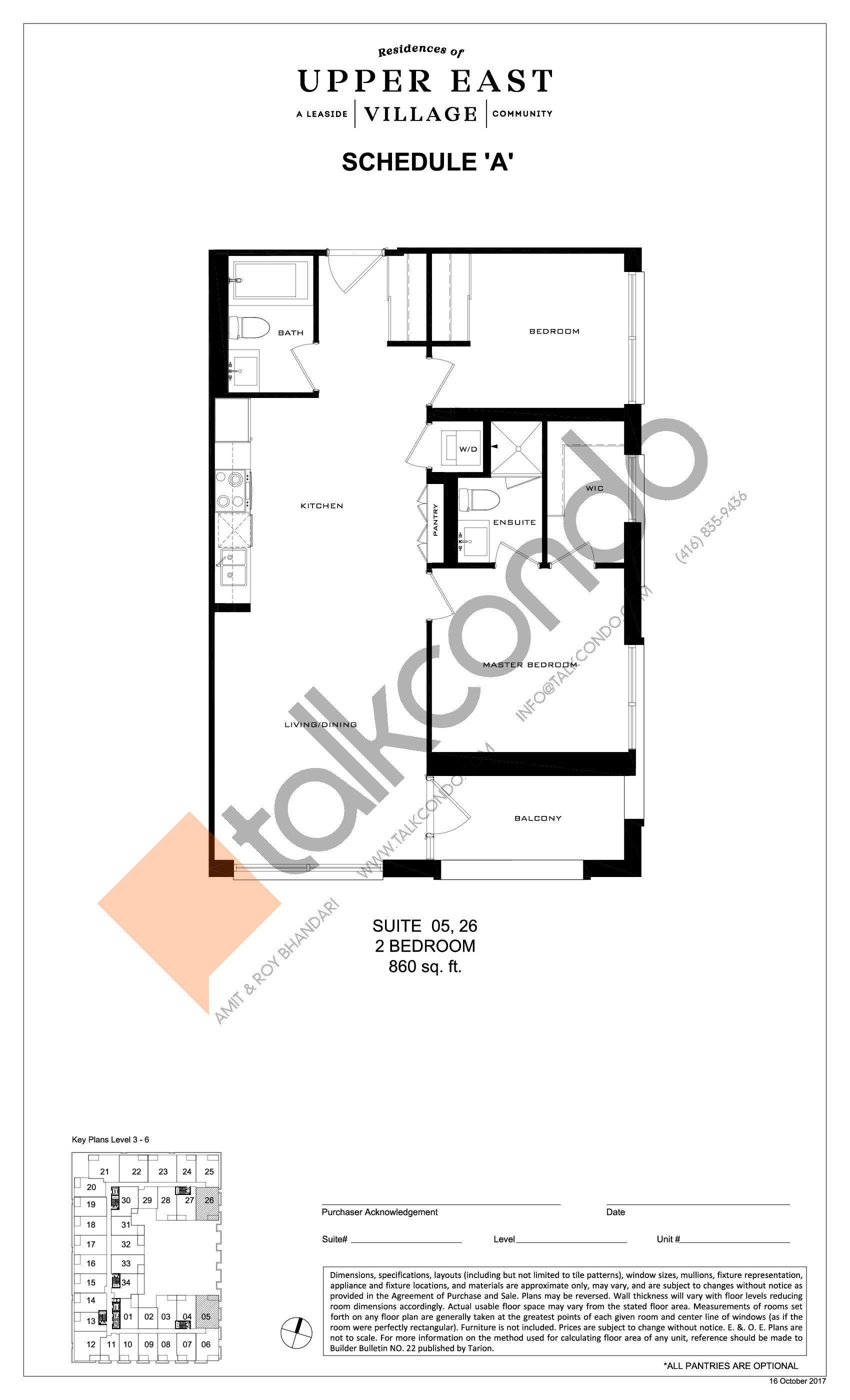 Suite 05, 26 Floor Plan at Upper East Village Condos - 860 sq.ft