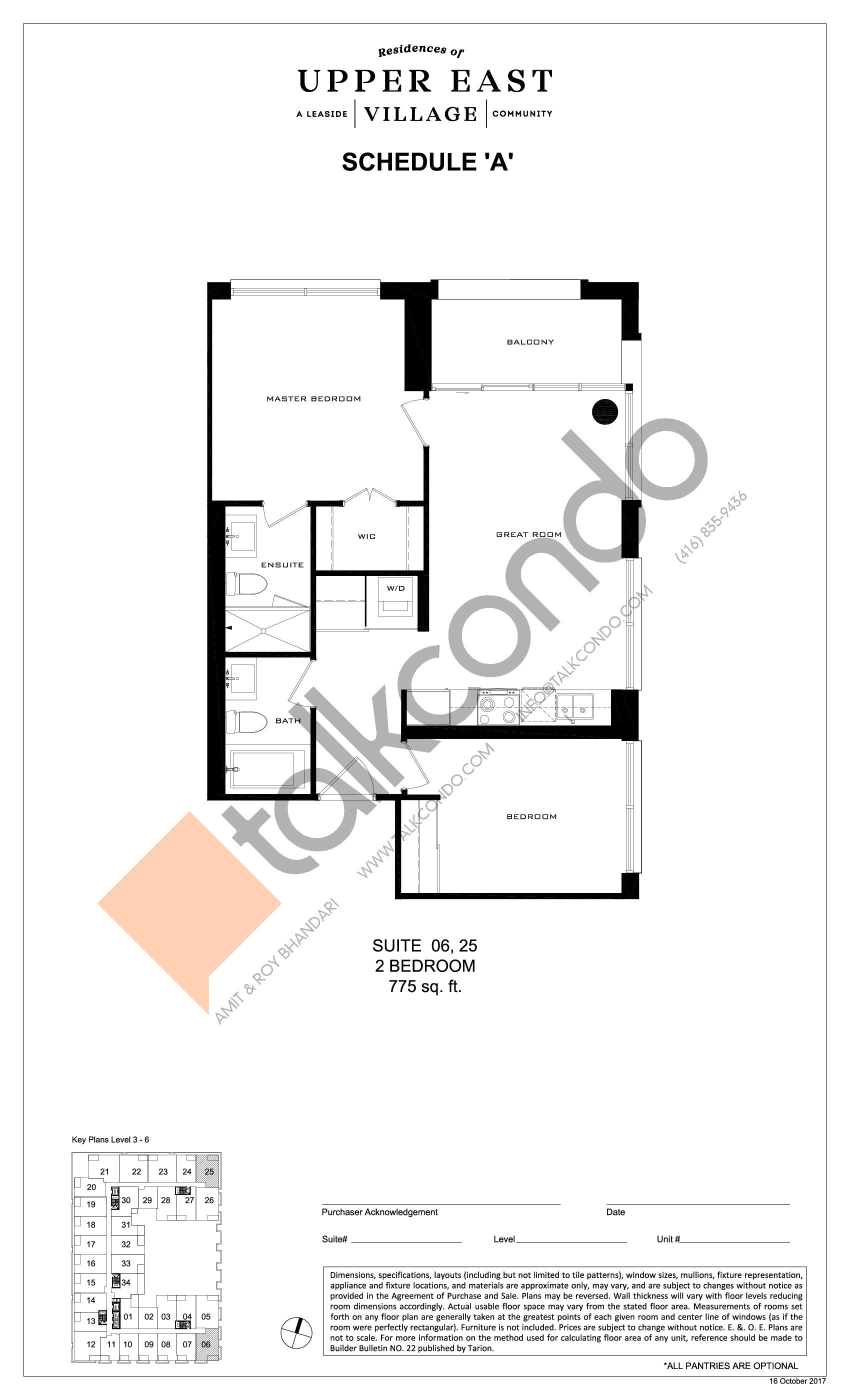 Suite 06, 25 Floor Plan at Upper East Village Condos - 775 sq.ft
