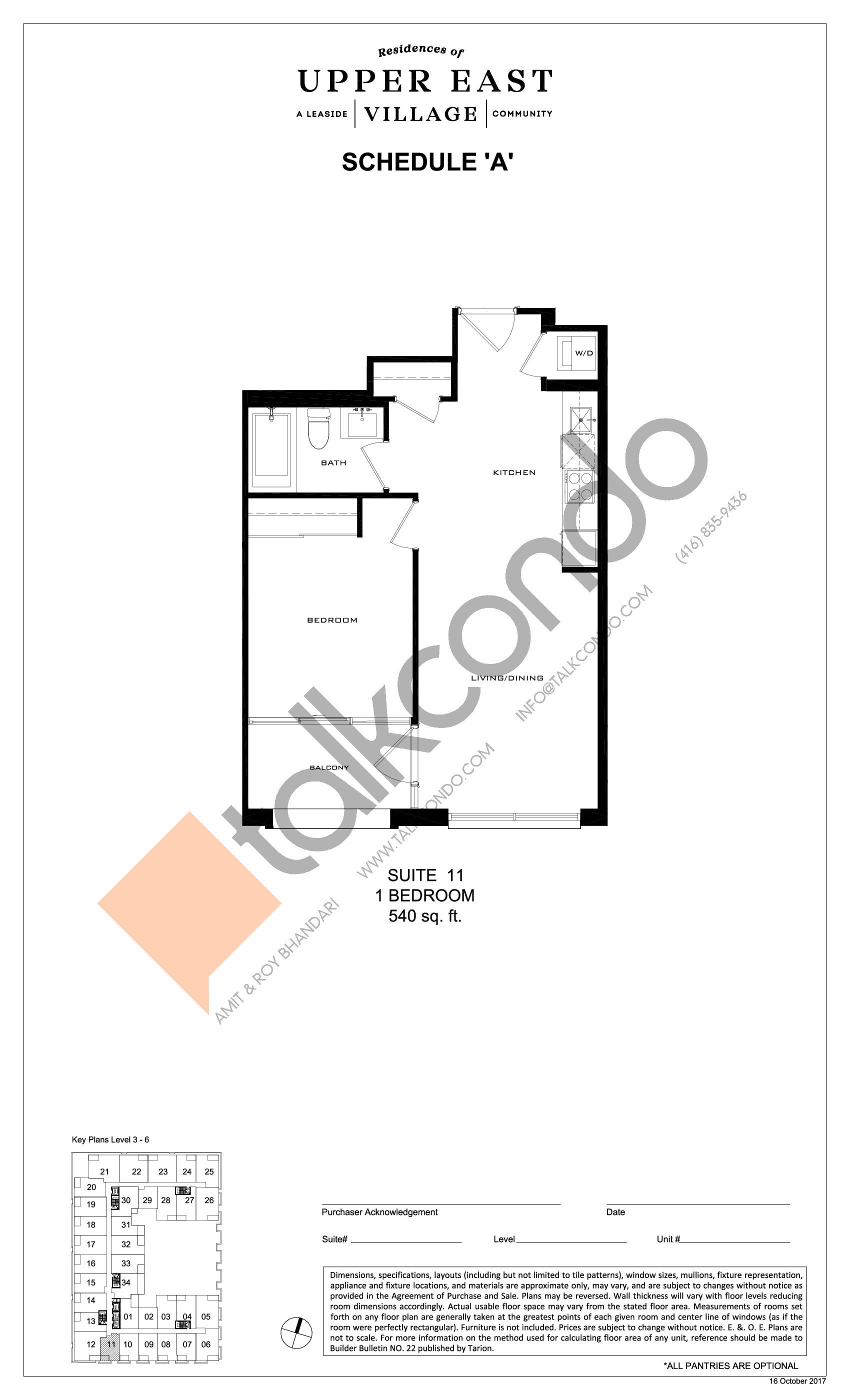 Suite 11 Floor Plan at Upper East Village Condos - 540 sq.ft