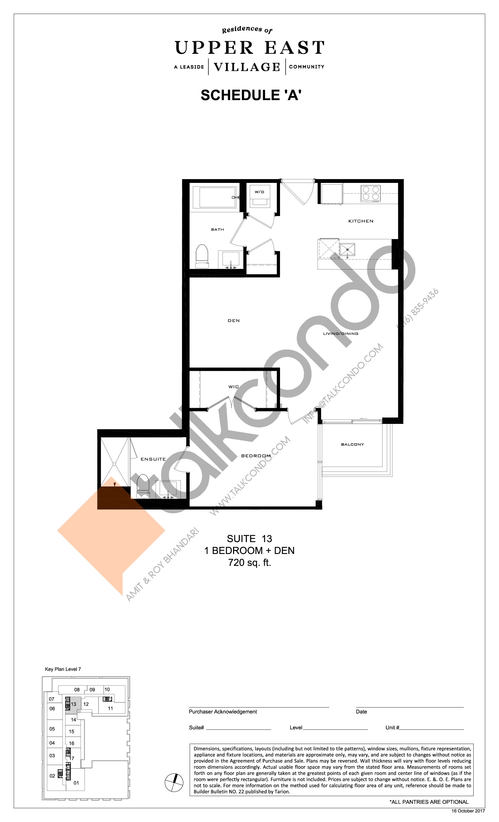 Suite 13 Floor Plan at Upper East Village Condos - 720 sq.ft