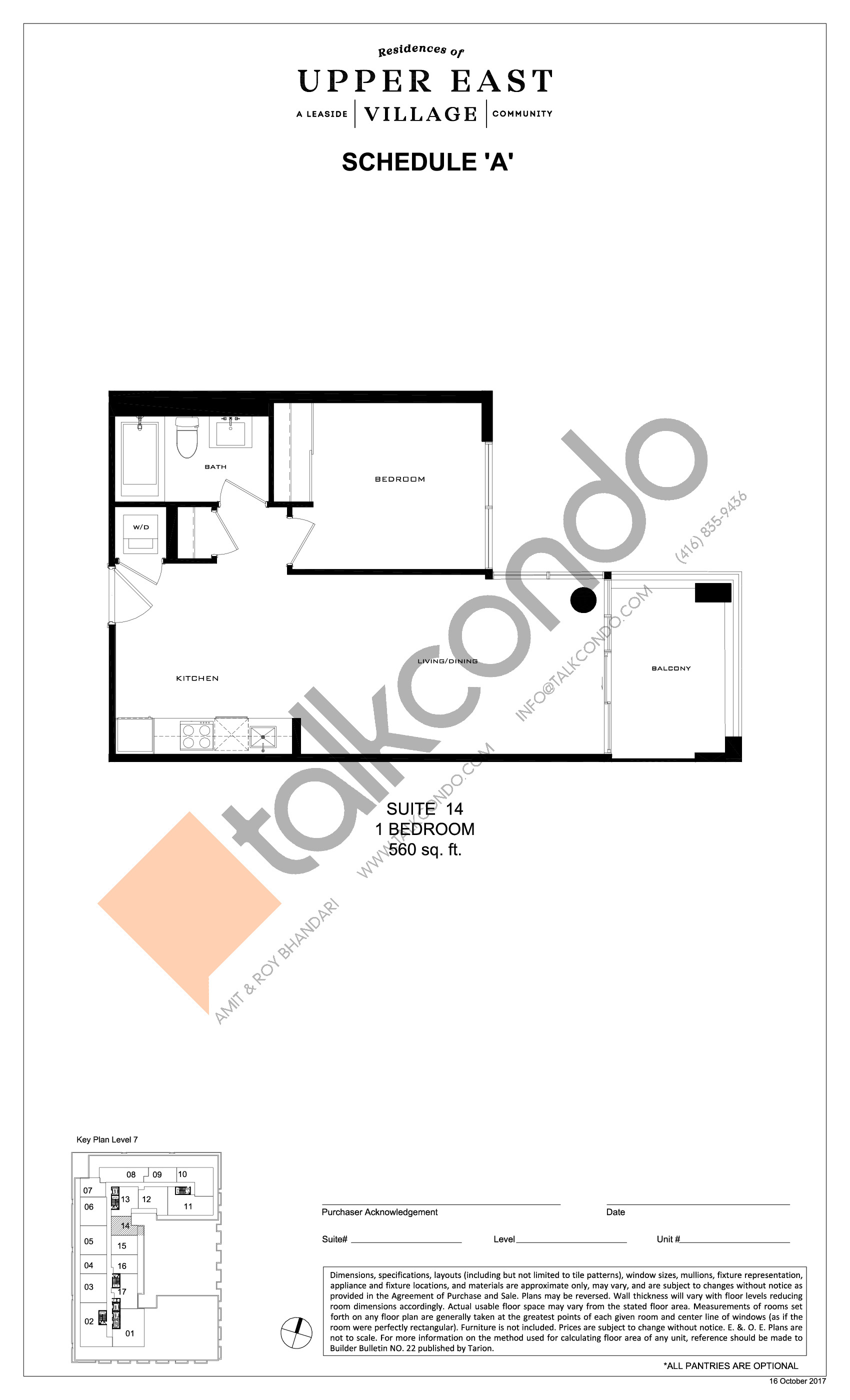 Suite 14 Floor Plan at Upper East Village Condos - 560 sq.ft