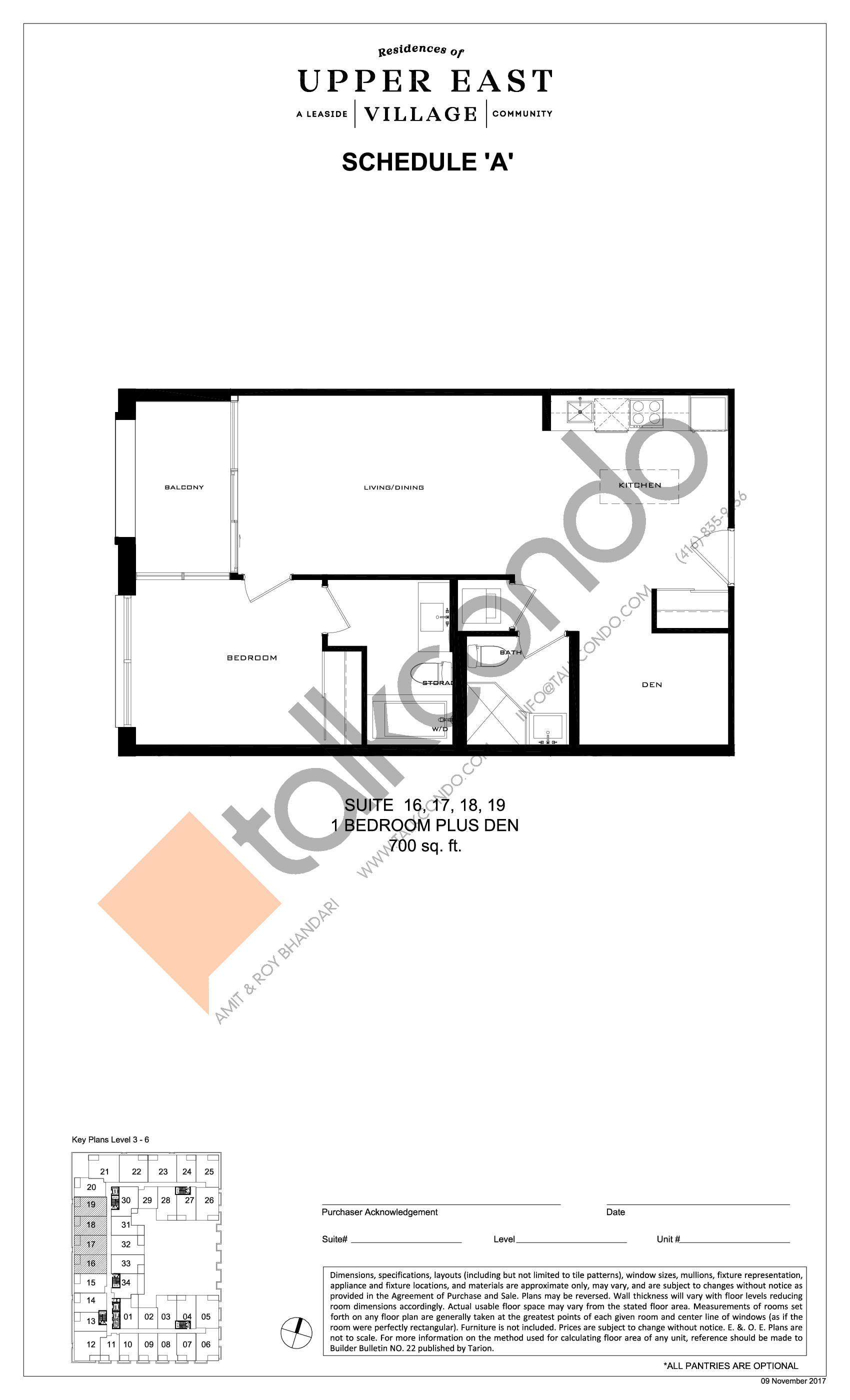 Suite 16, 17, 18, 19 Floor Plan at Upper East Village Condos - 700 sq.ft