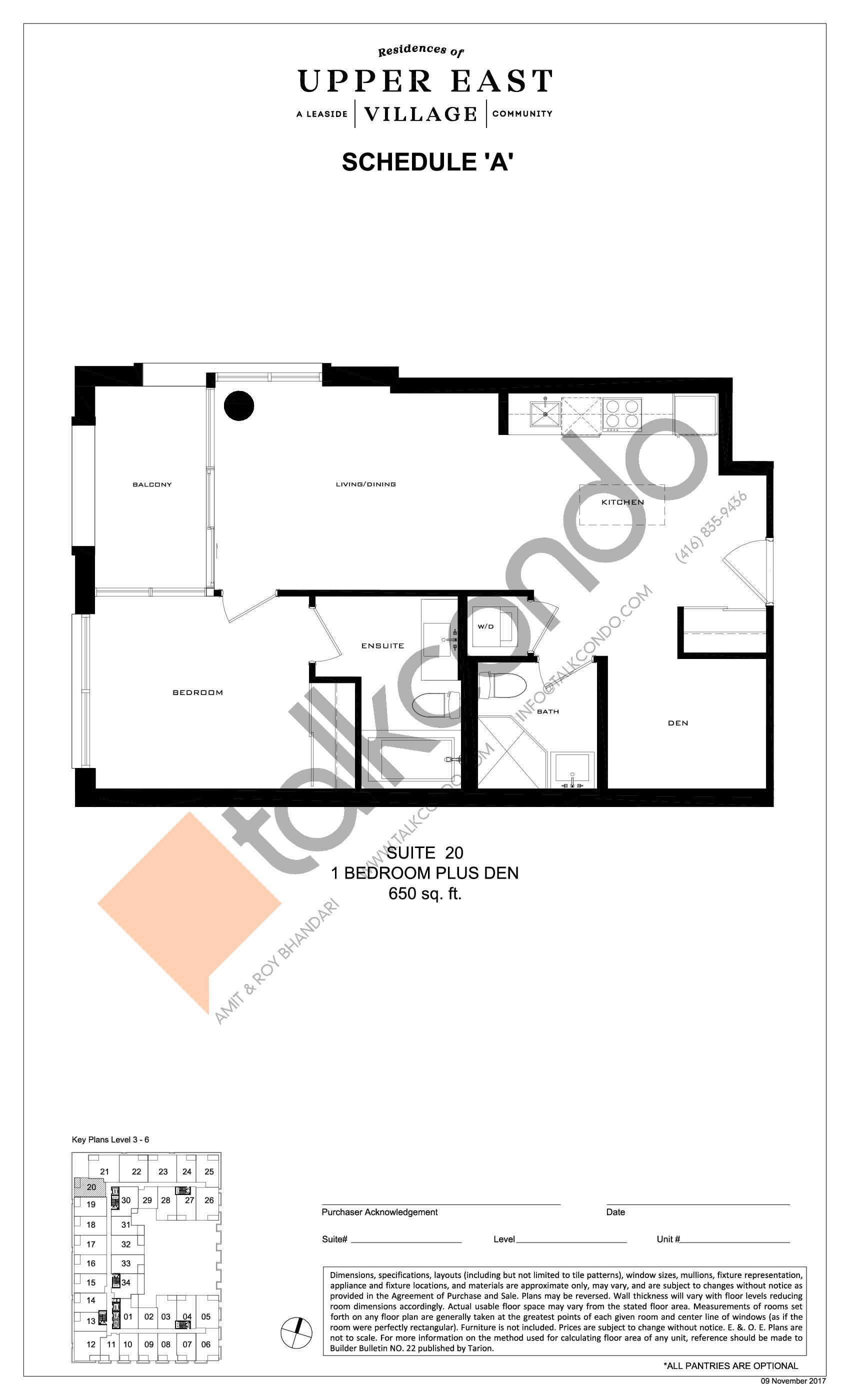 Suite 20 Floor Plan at Upper East Village Condos - 650 sq.ft