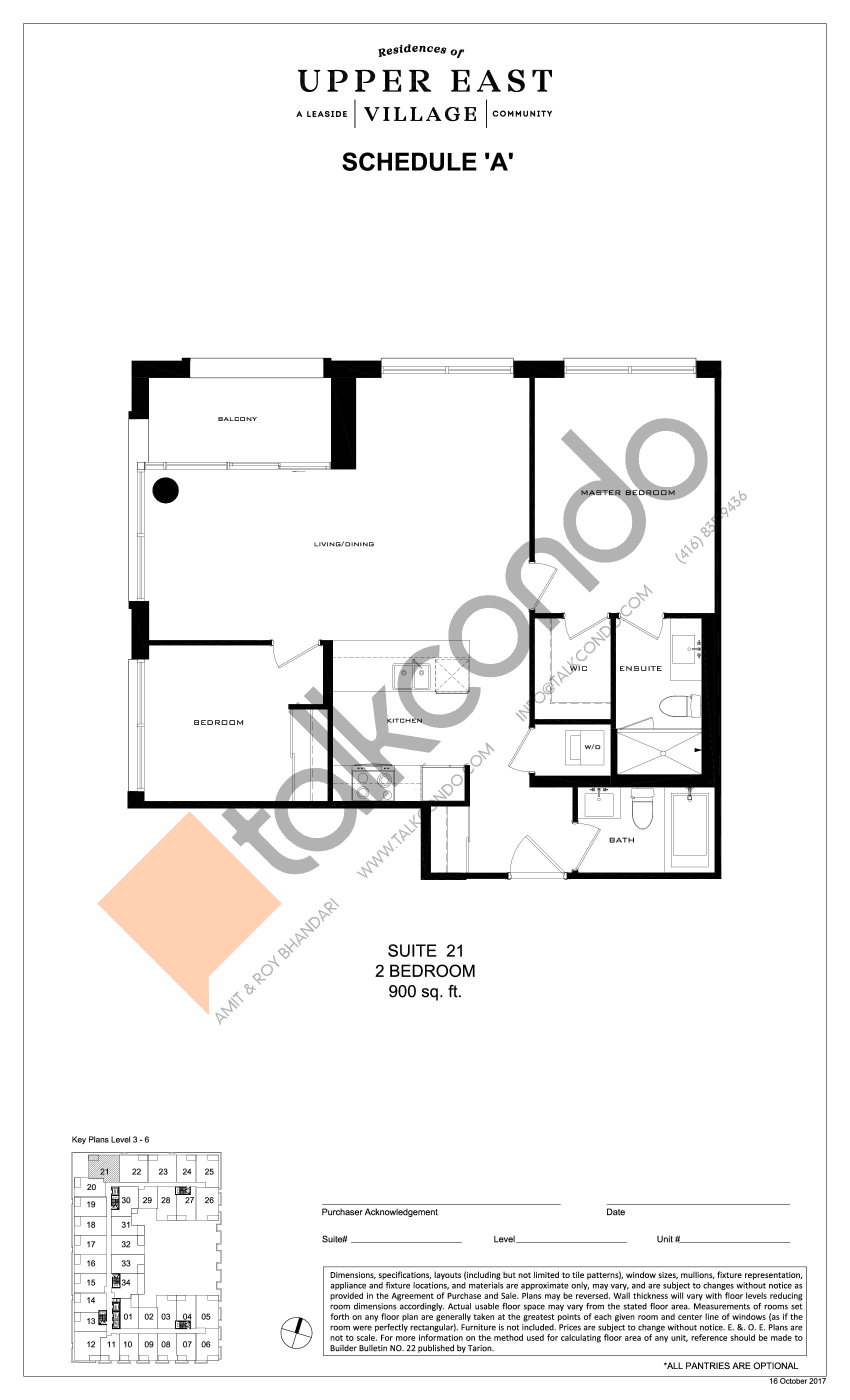 Suite 21 Floor Plan at Upper East Village Condos - 900 sq.ft