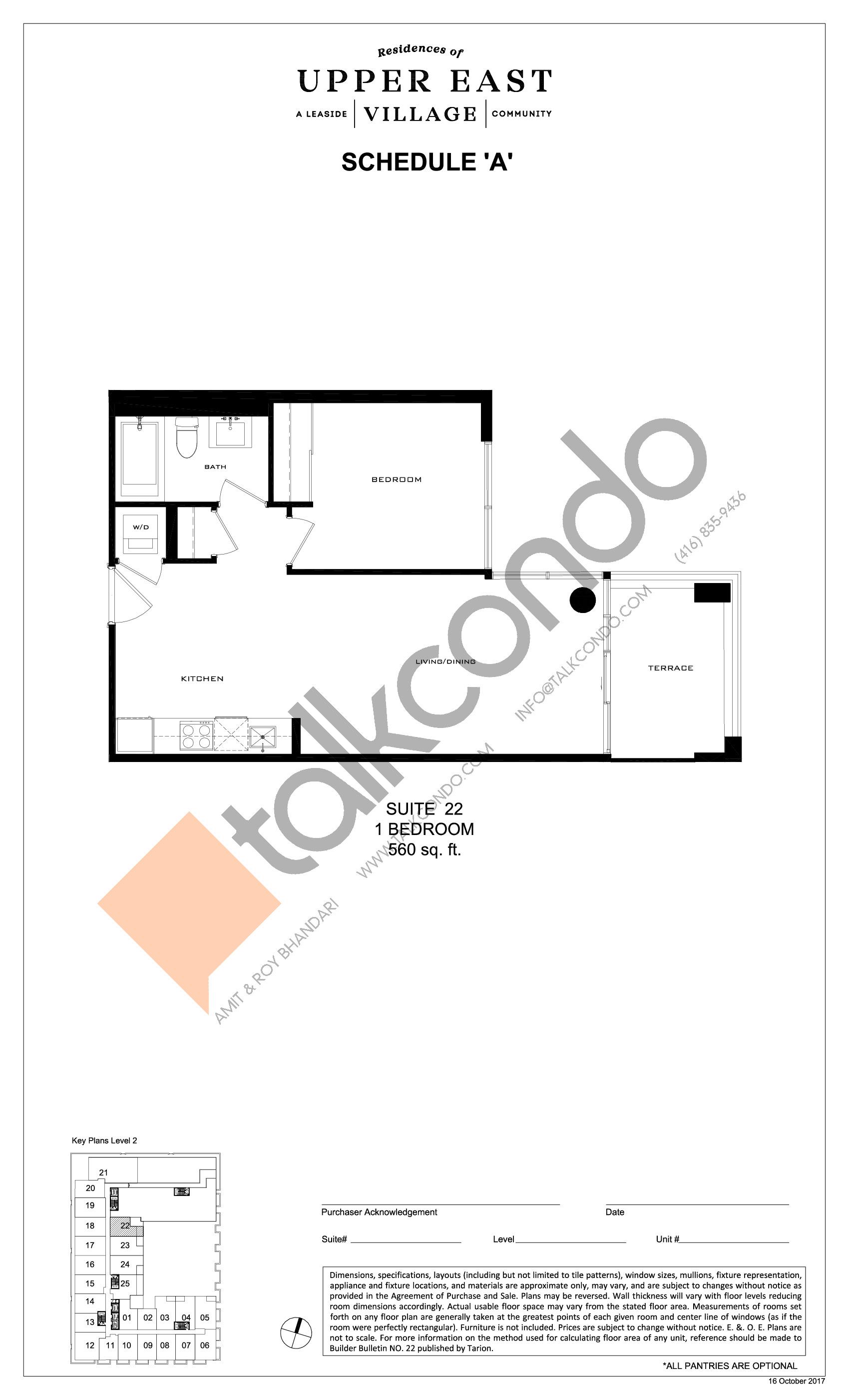 Suite 22 Floor Plan at Upper East Village Condos - 560 sq.ft