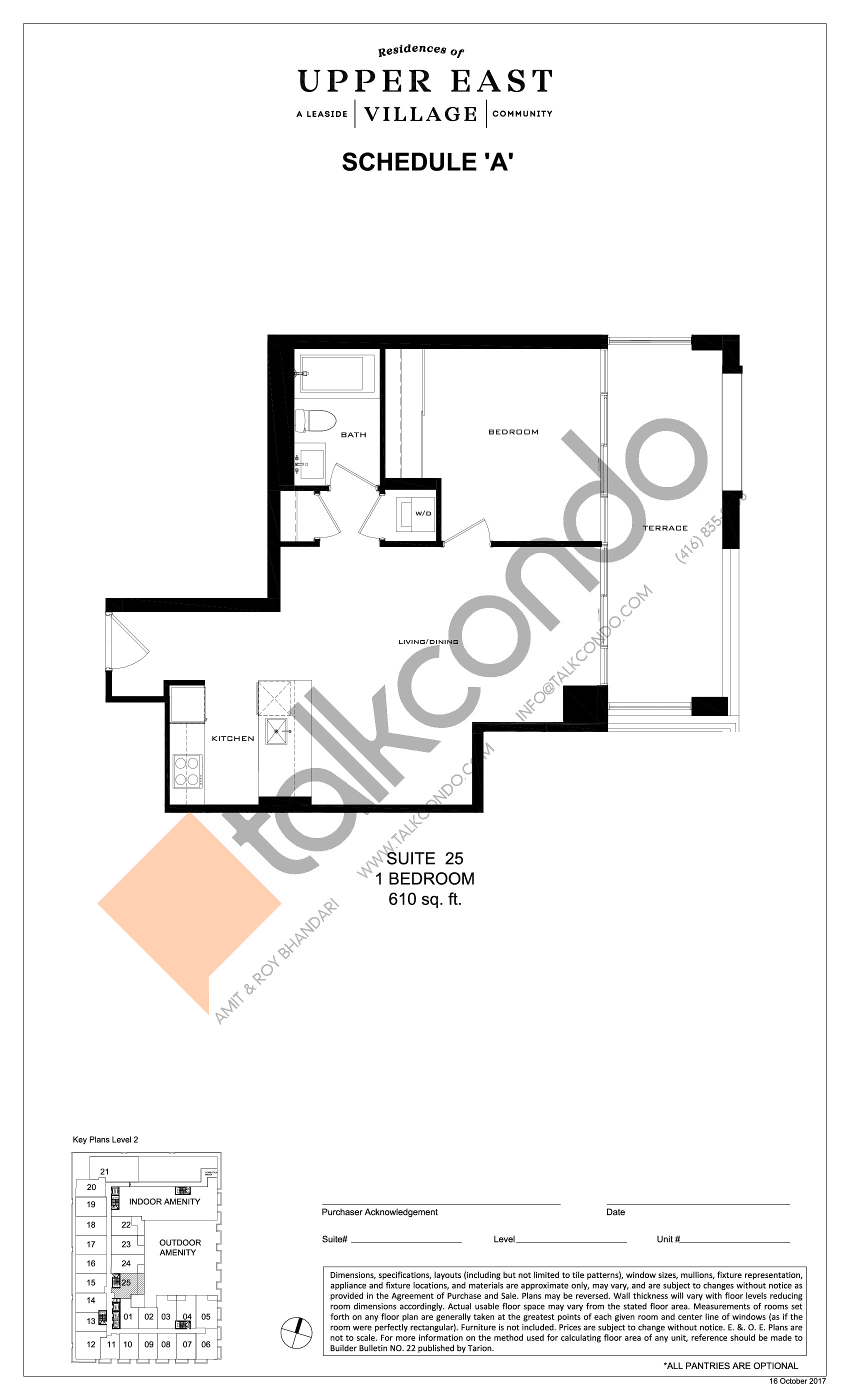 Suite 25 Floor Plan at Upper East Village Condos - 610 sq.ft