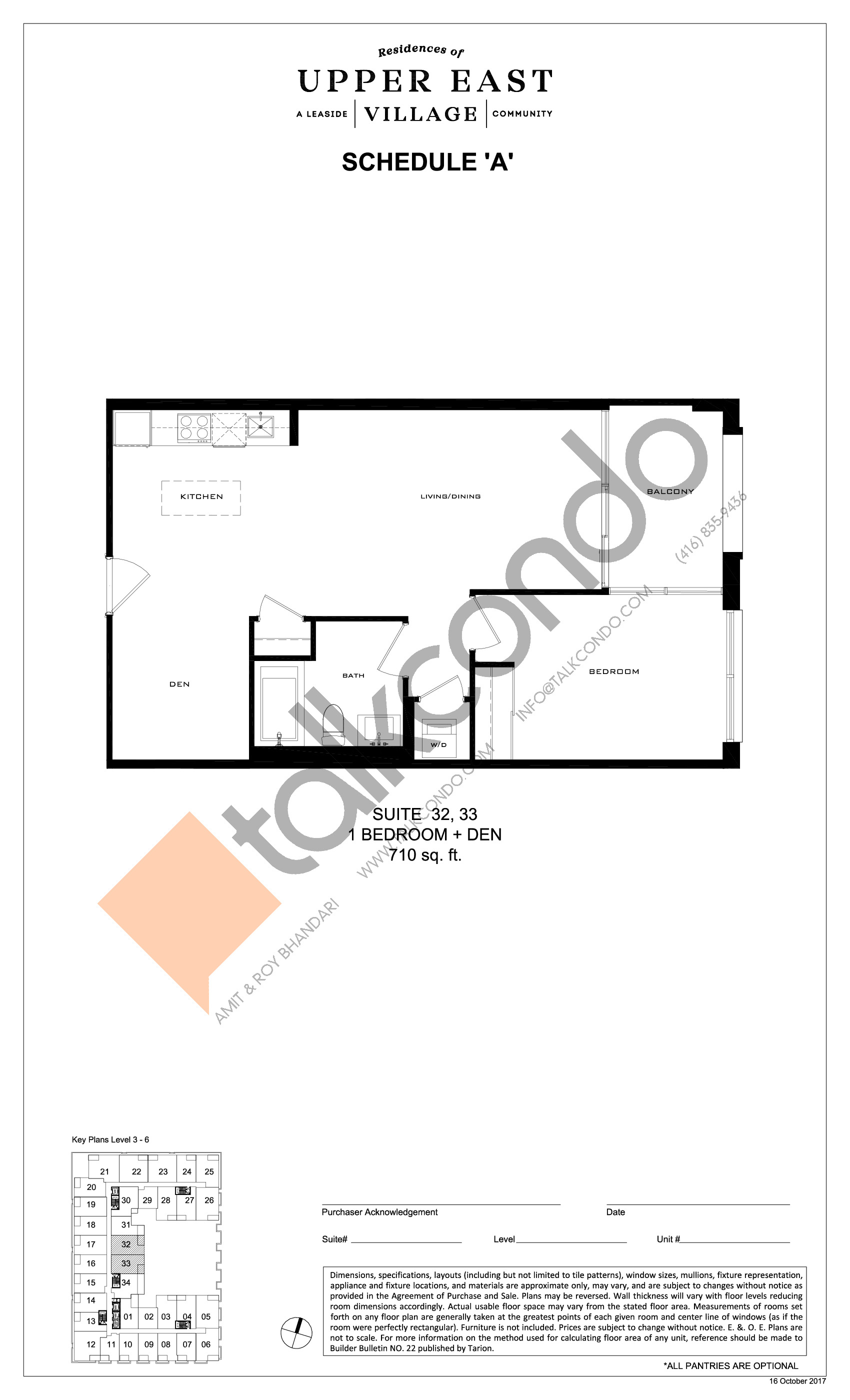 Suite 32, 33 Floor Plan at Upper East Village Condos - 710 sq.ft