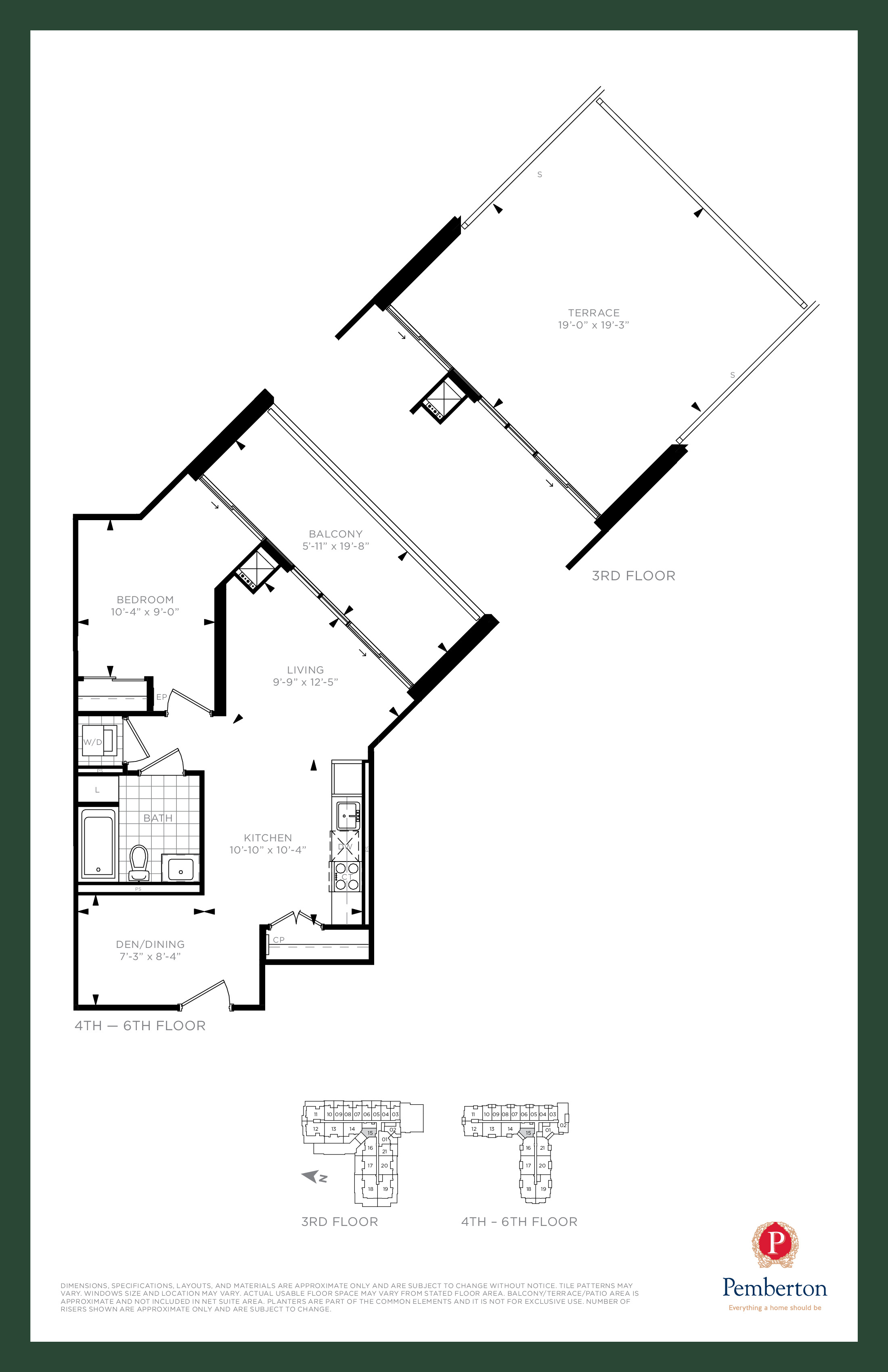Suite A - Building A Floor Plan at 9th & Main Condos + Towns - 630 sq.ft
