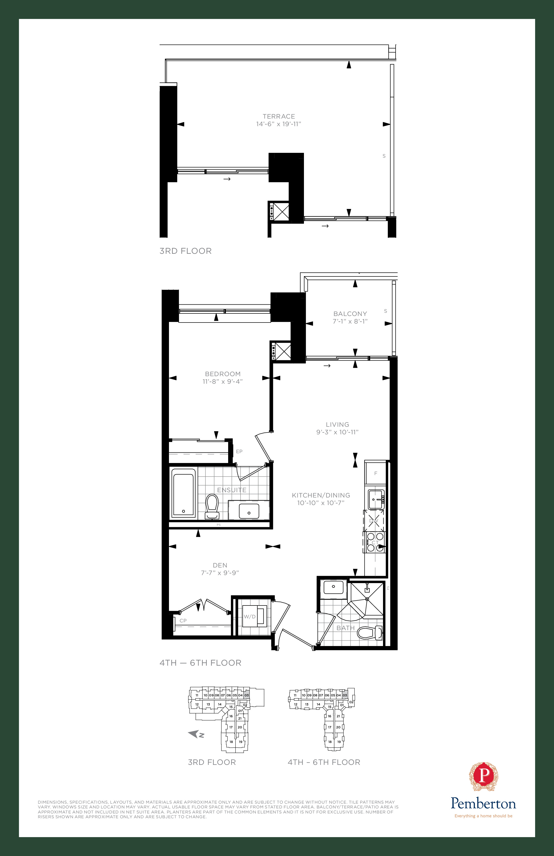 Suite B - Building A Floor Plan at 9th & Main Condos + Towns - 660 sq.ft