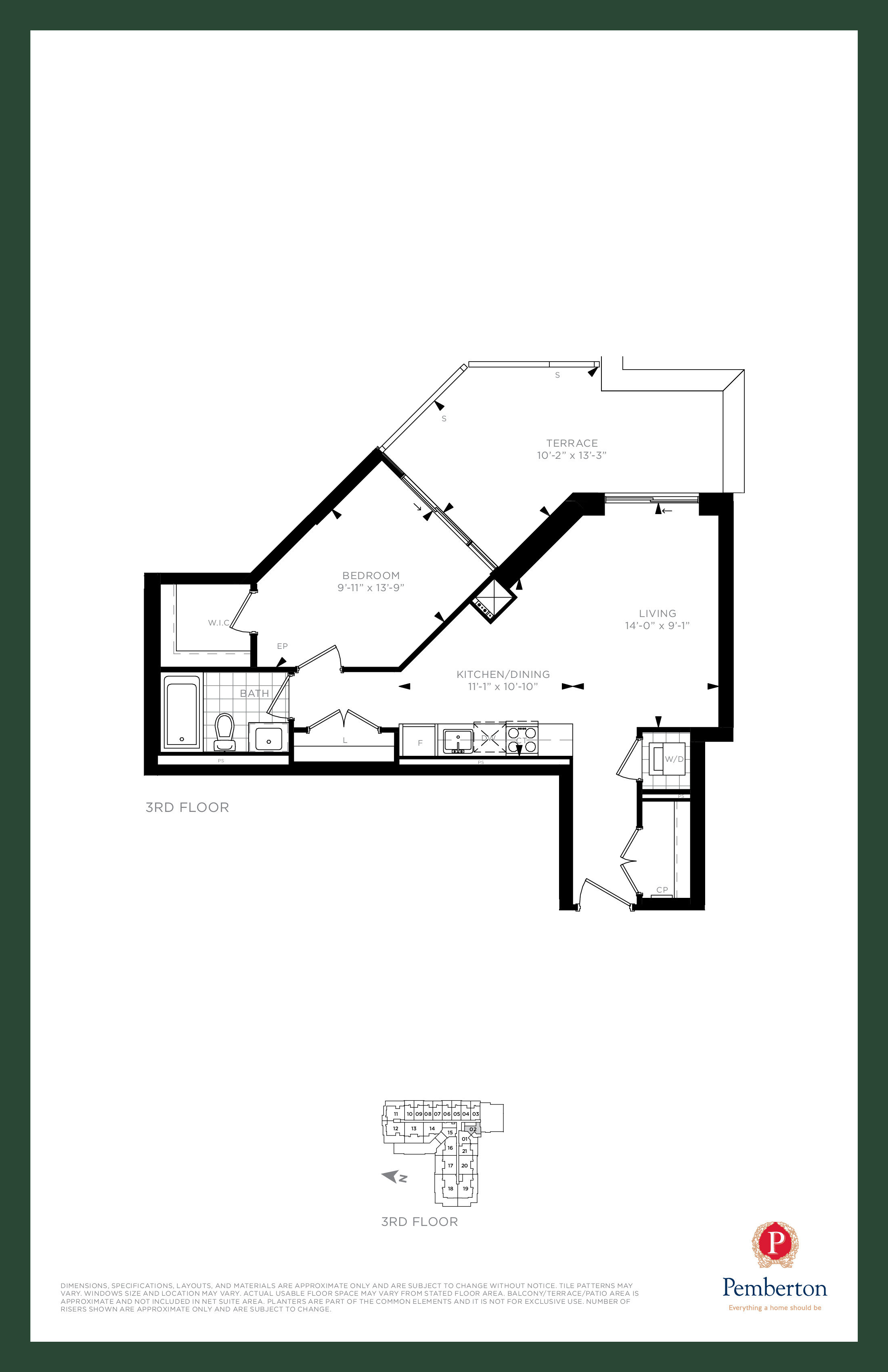 Suite H - Building A Floor Plan at 9th & Main Condos + Towns - 665 sq.ft