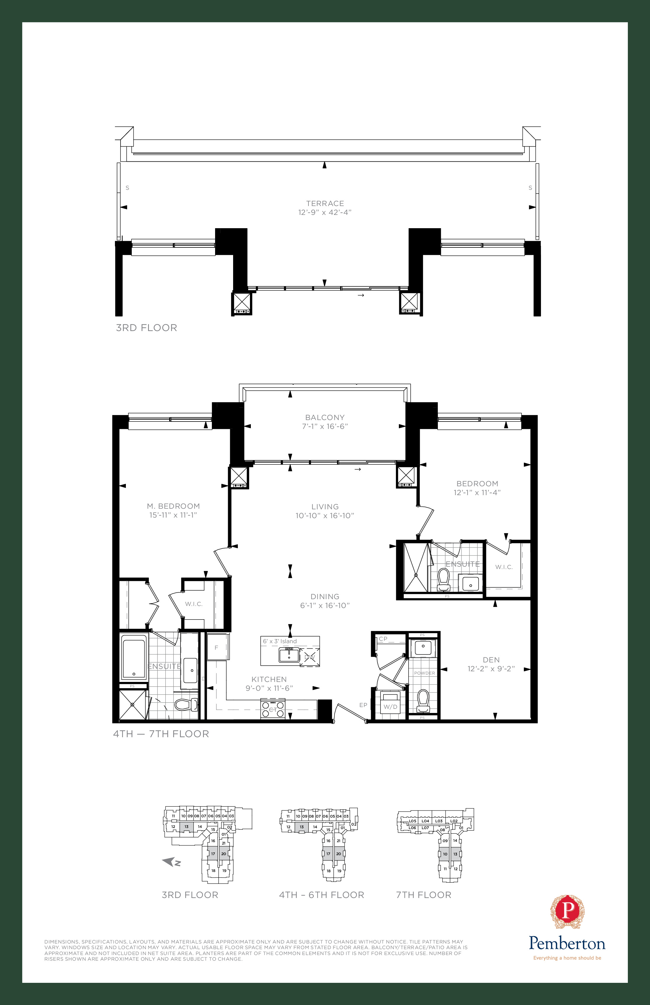 Suite N - Building A Floor Plan at 9th & Main Condos + Towns - 1290 sq.ft