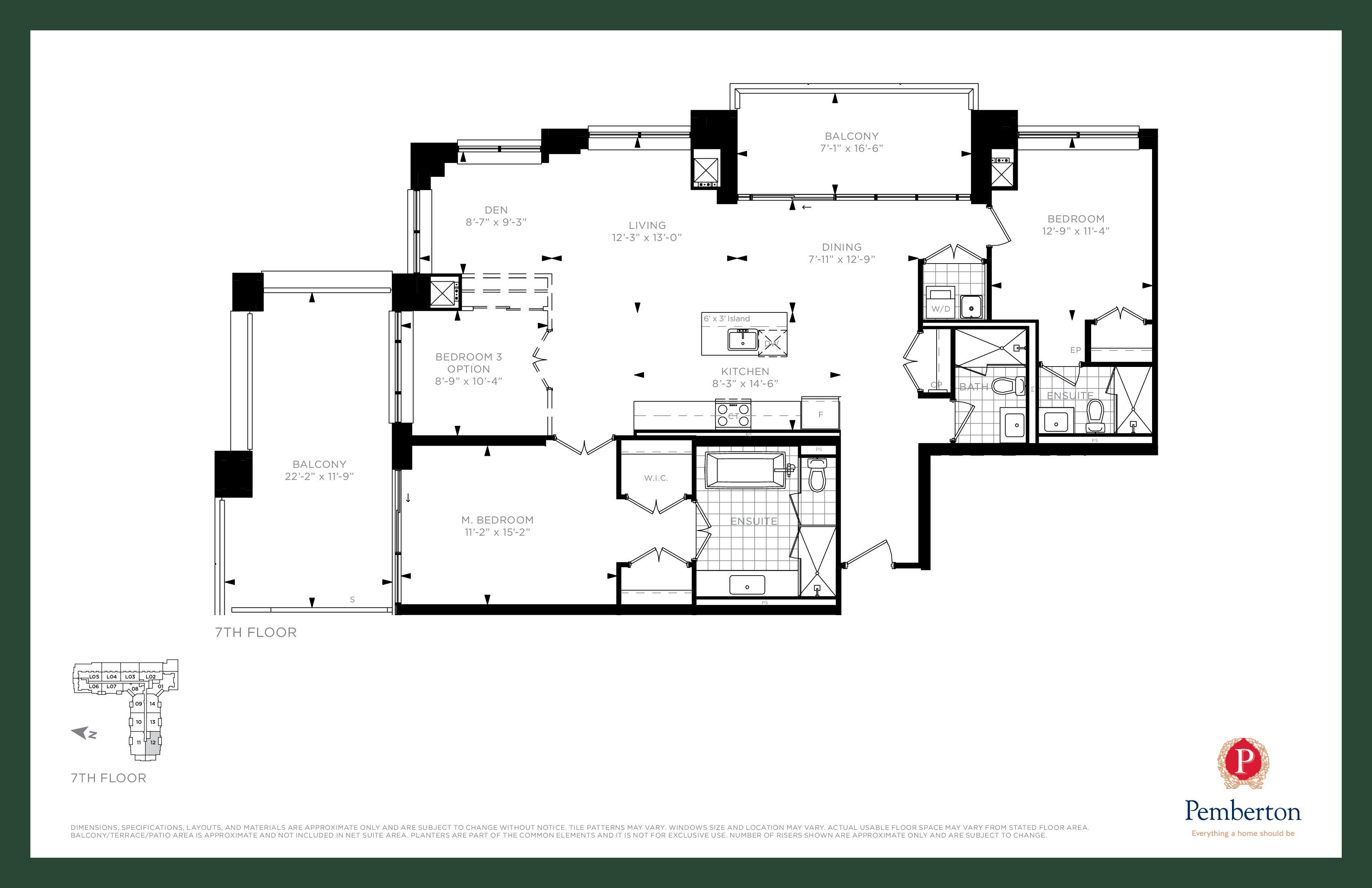 Suite P1 - Building A Floor Plan at 9th & Main Condos + Towns - 1565 sq.ft