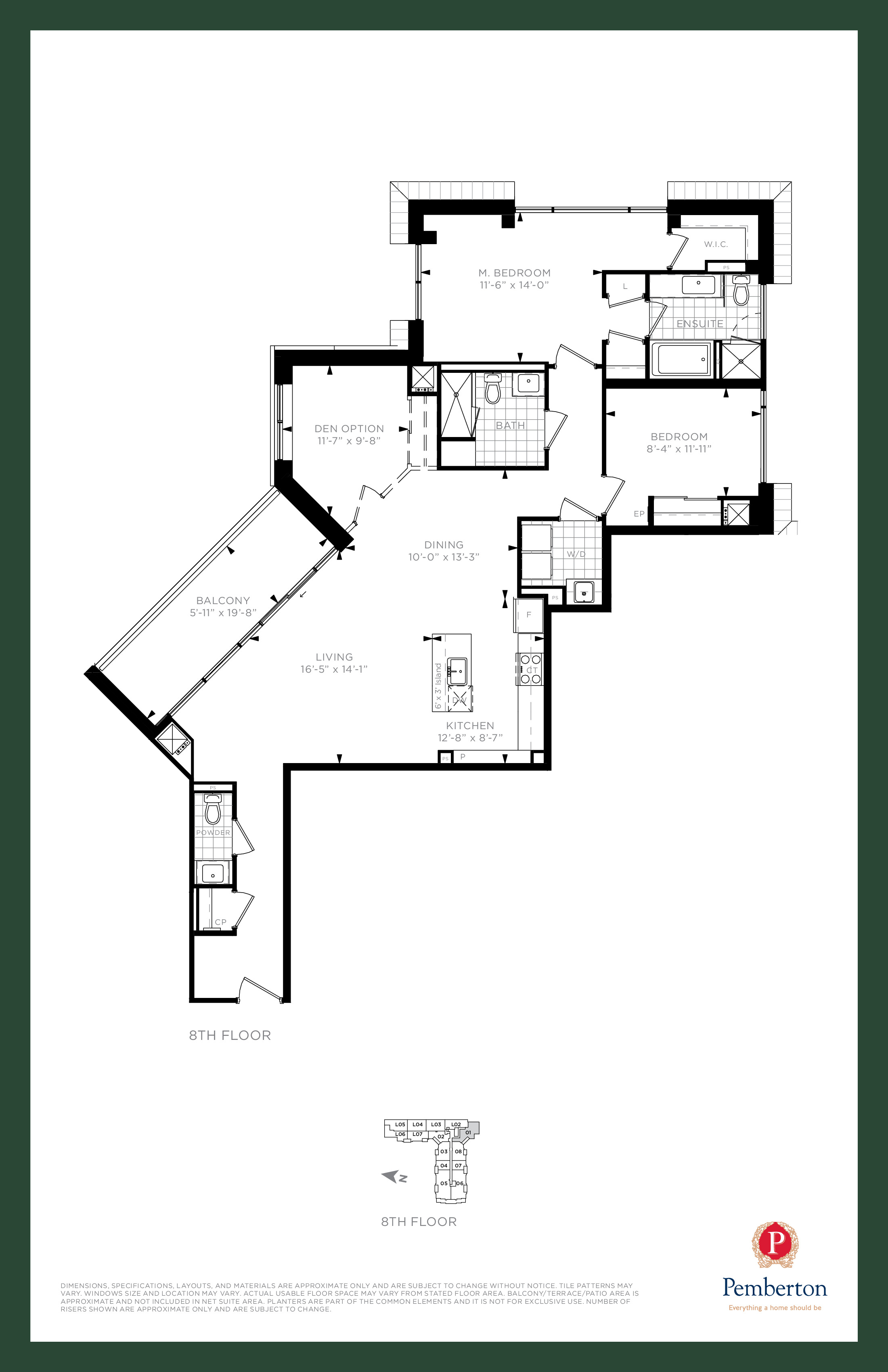Suite V - Building A Floor Plan at 9th & Main Condos + Towns - 1500 sq.ft